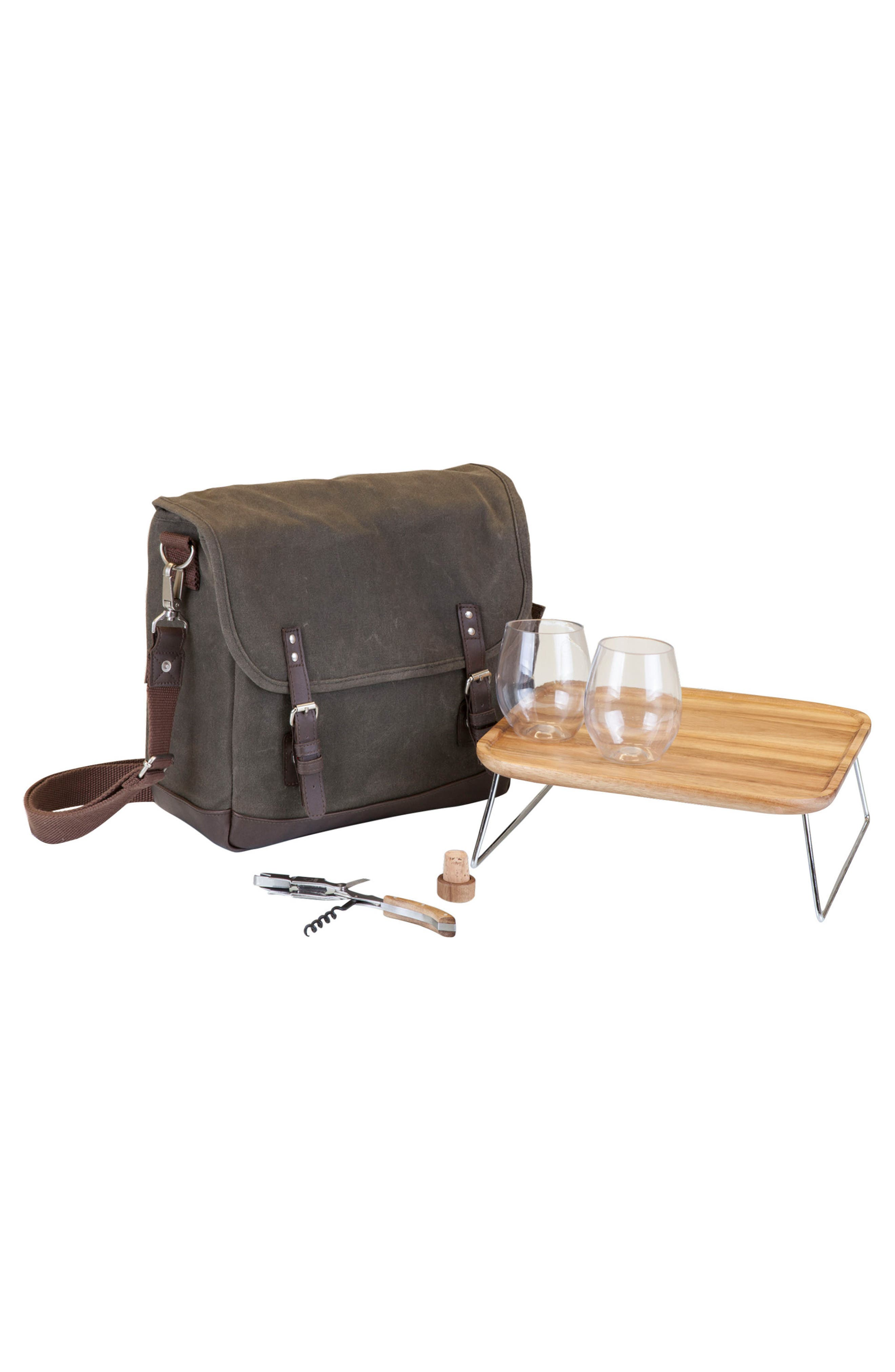 Picnic Time Adventure Wine Tote,                         Main,                         color, Green/ Brown