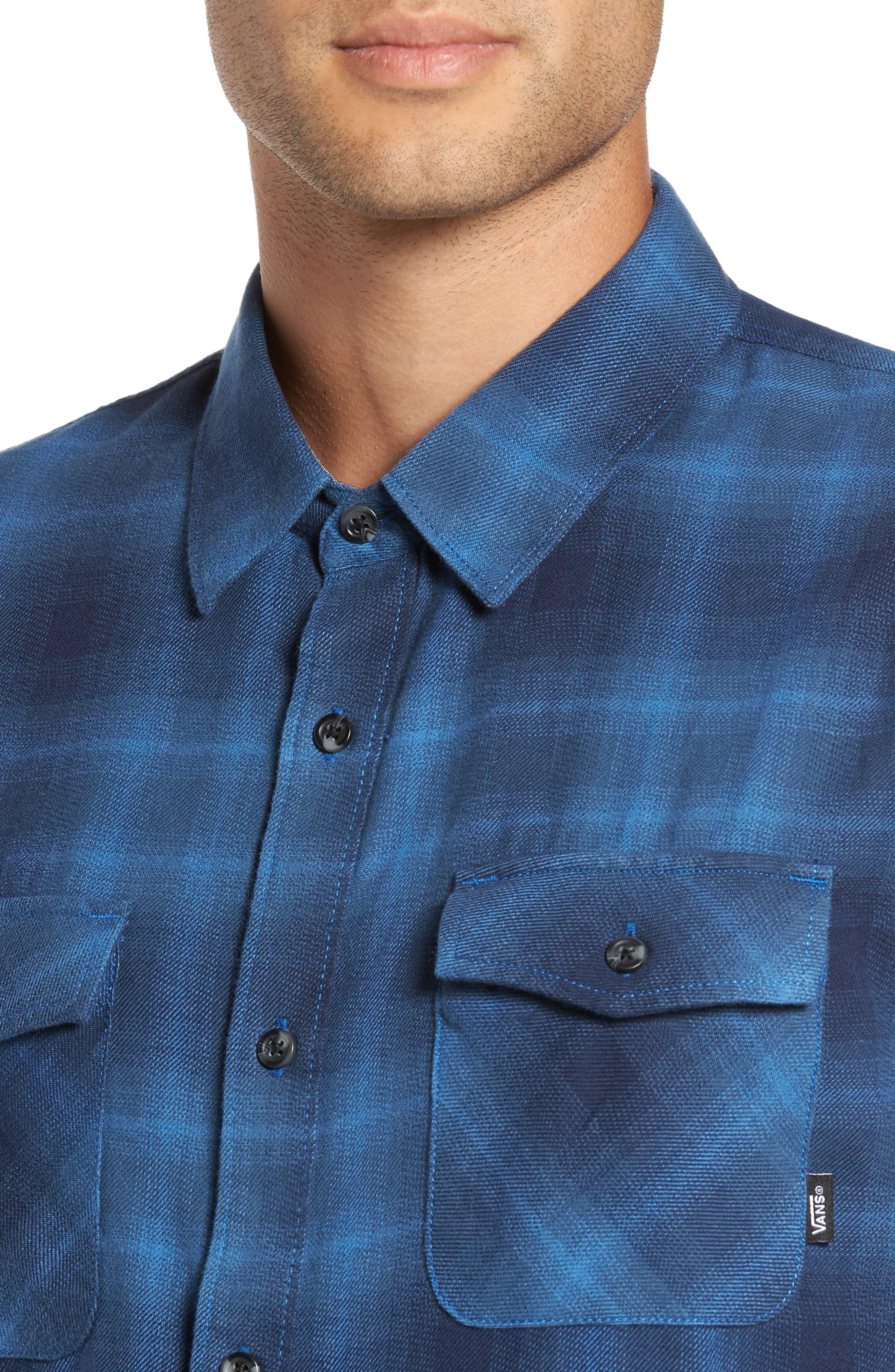 Monterey II Plaid Flannel Sport Shirt,                             Alternate thumbnail 4, color,                             Delft