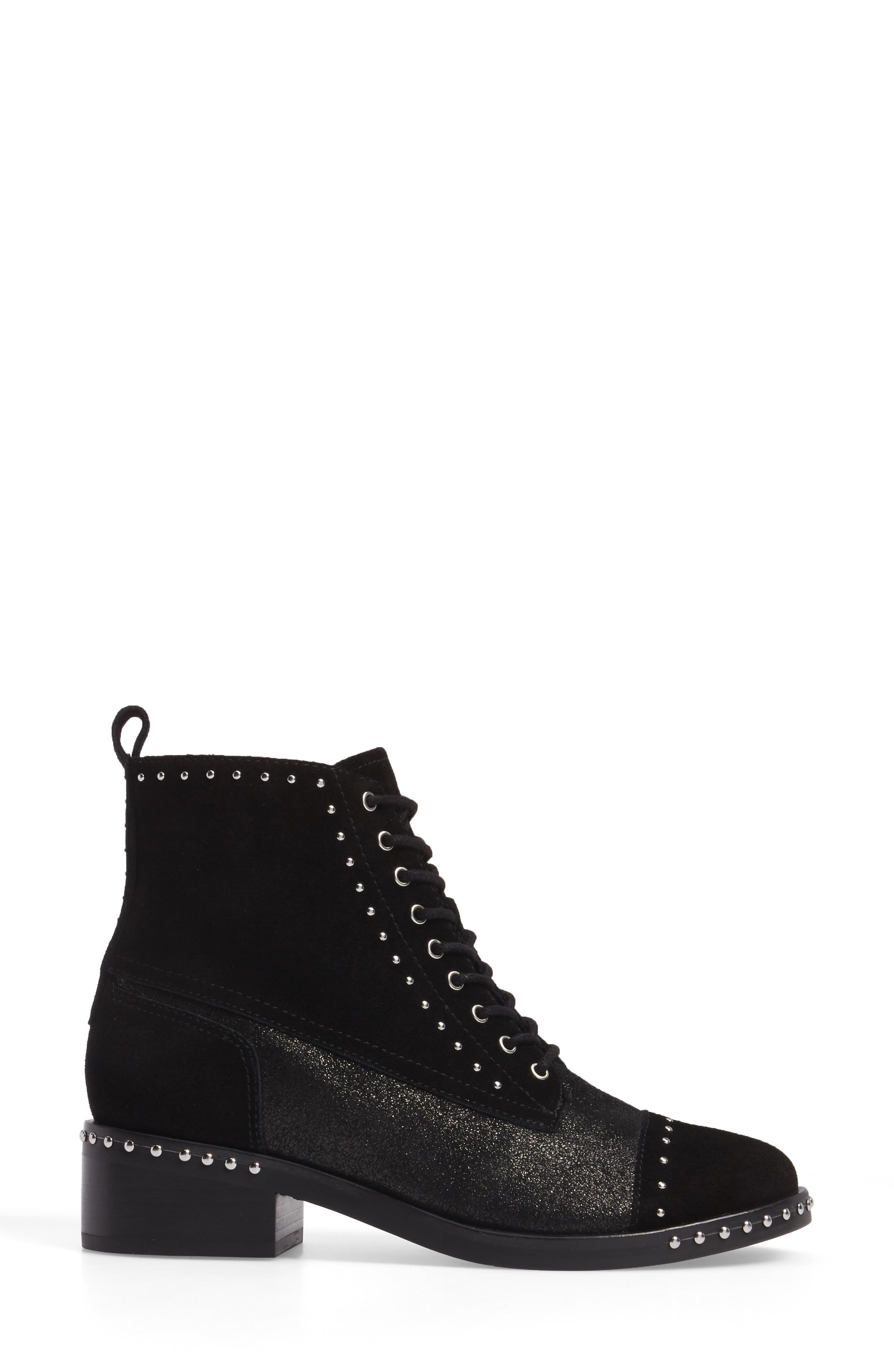 Cassidey Studded Cap Toe Bootie,                             Alternate thumbnail 3, color,                             Black Suede