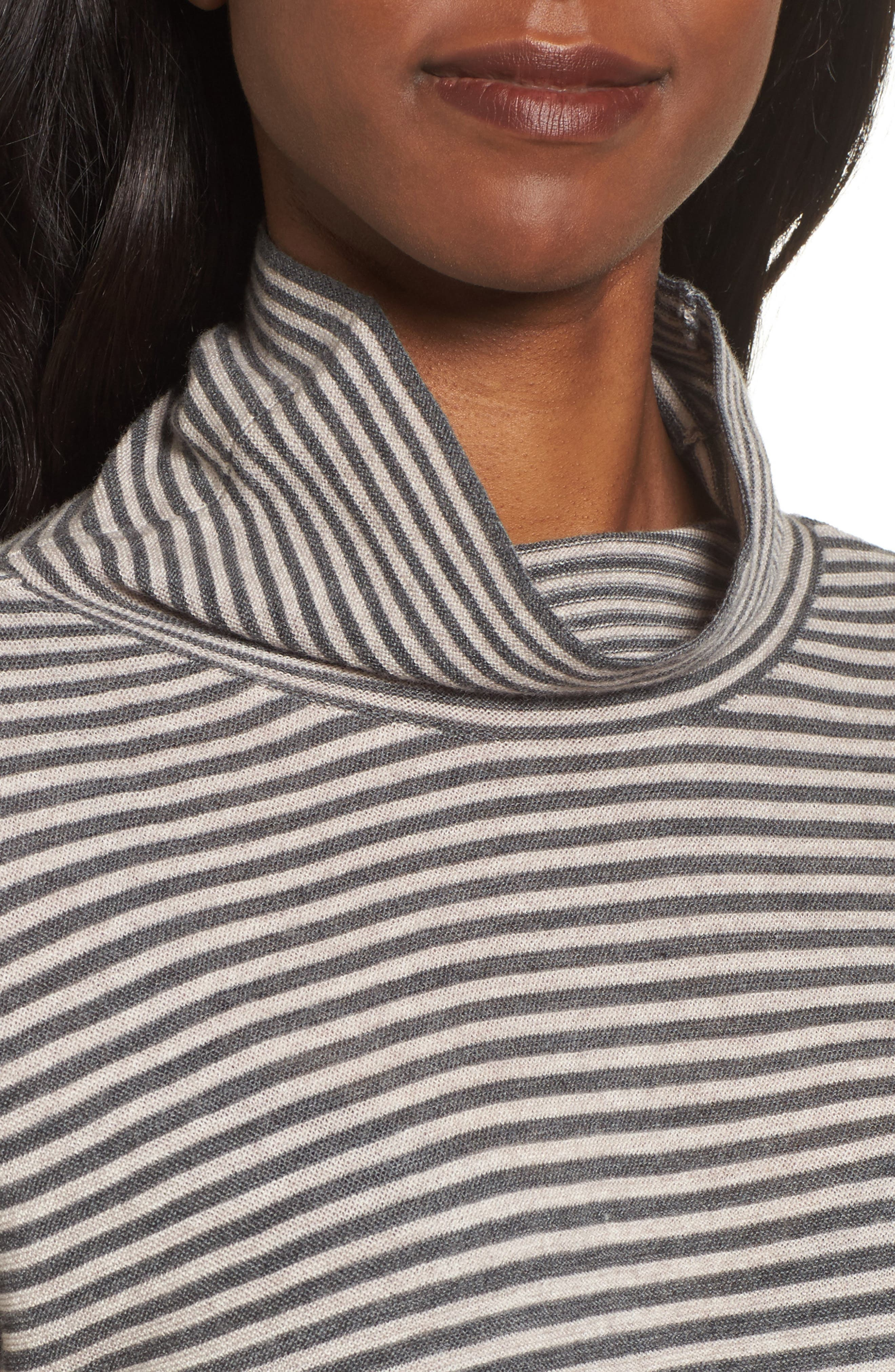 Stripe Merino Wool Tunic,                             Alternate thumbnail 4, color,                             Ash