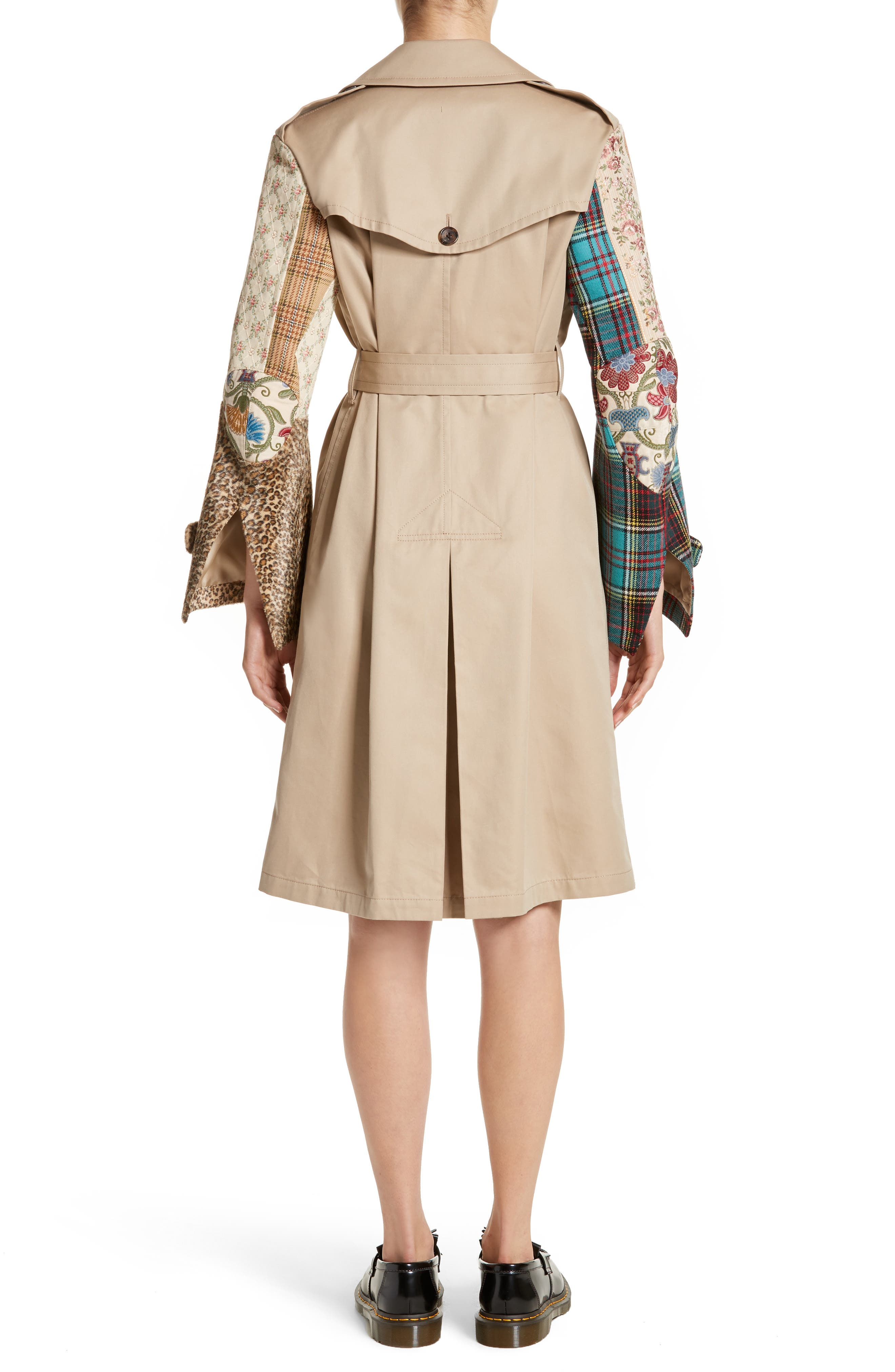 Patterned Sleeve Trench Coat,                             Alternate thumbnail 3, color,                             Beige X Mix