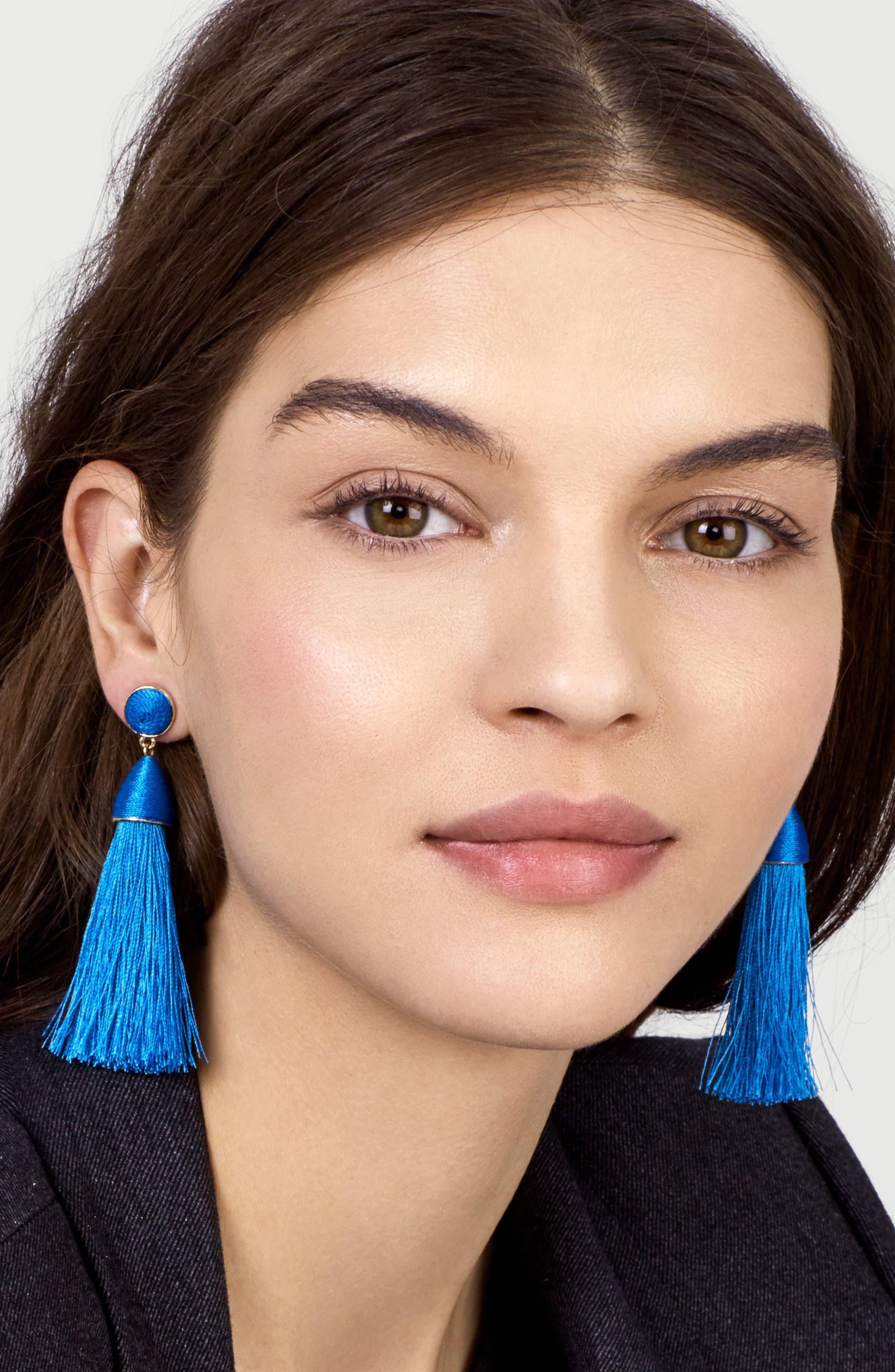 Rosabella Tassel Drop Earrings,                             Alternate thumbnail 2, color,                             Bright Blue