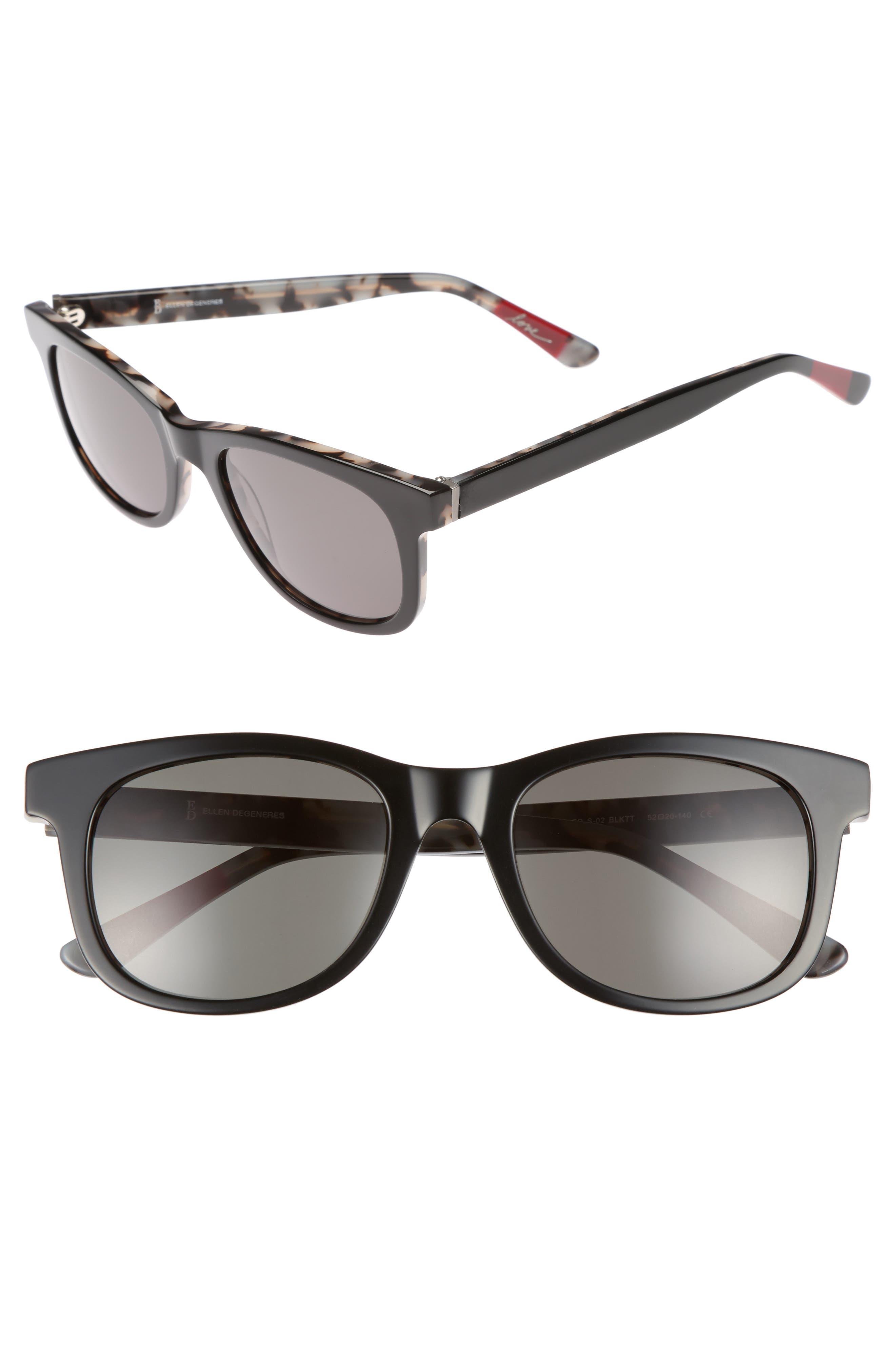 52mm Gradient Sunglasses,                         Main,                         color, Black Tortoise