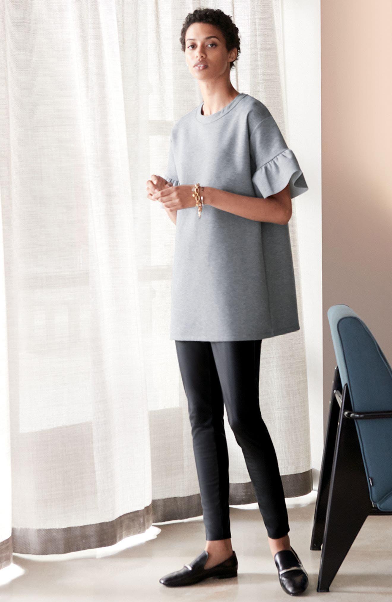 Alternate Image 2  - Halogen® Ruffle Sleeve Tunic (Regular & Petite)