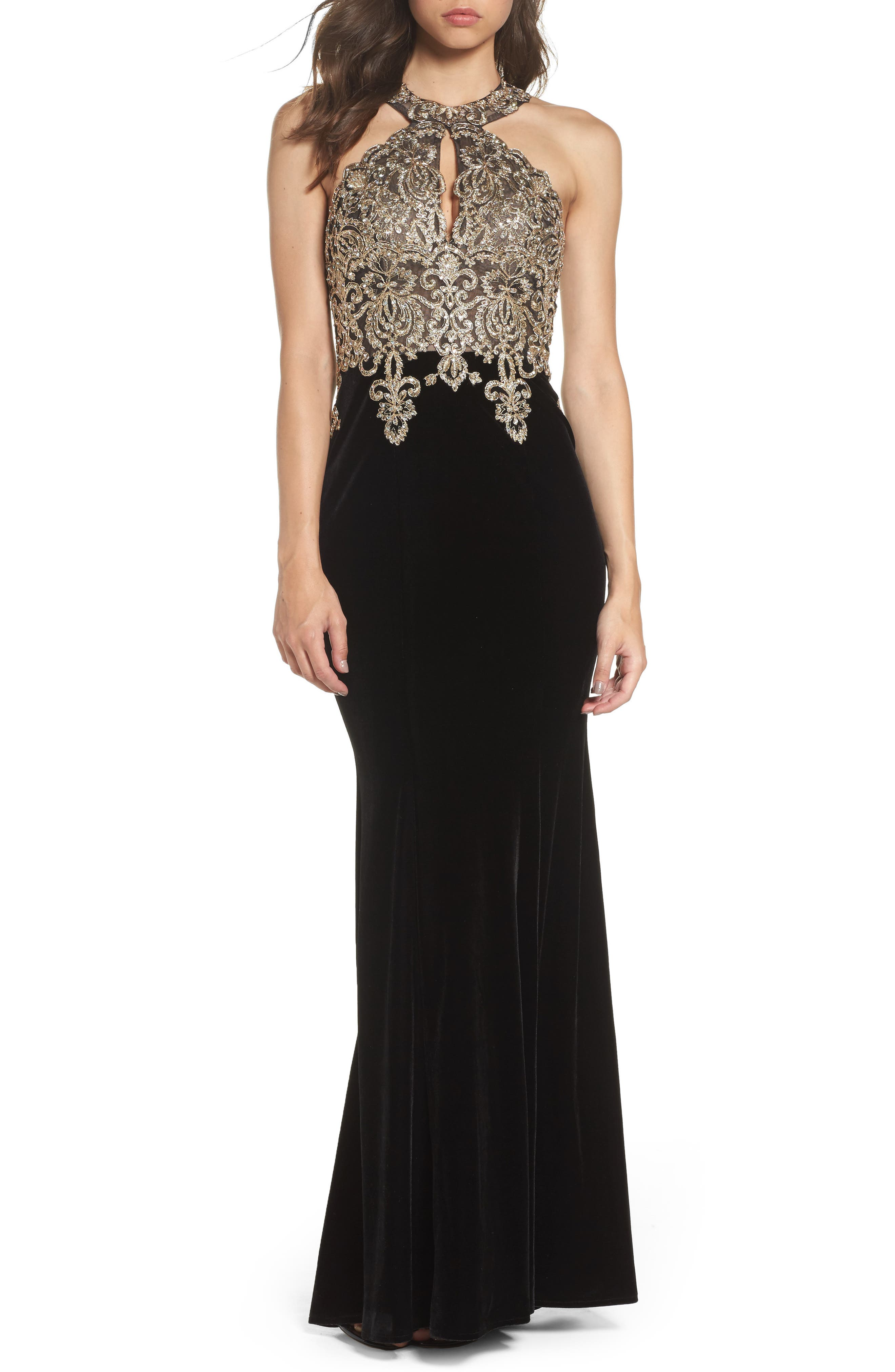 Crystal Embroidered Velvet Gown,                             Main thumbnail 1, color,                             Black/ Gold
