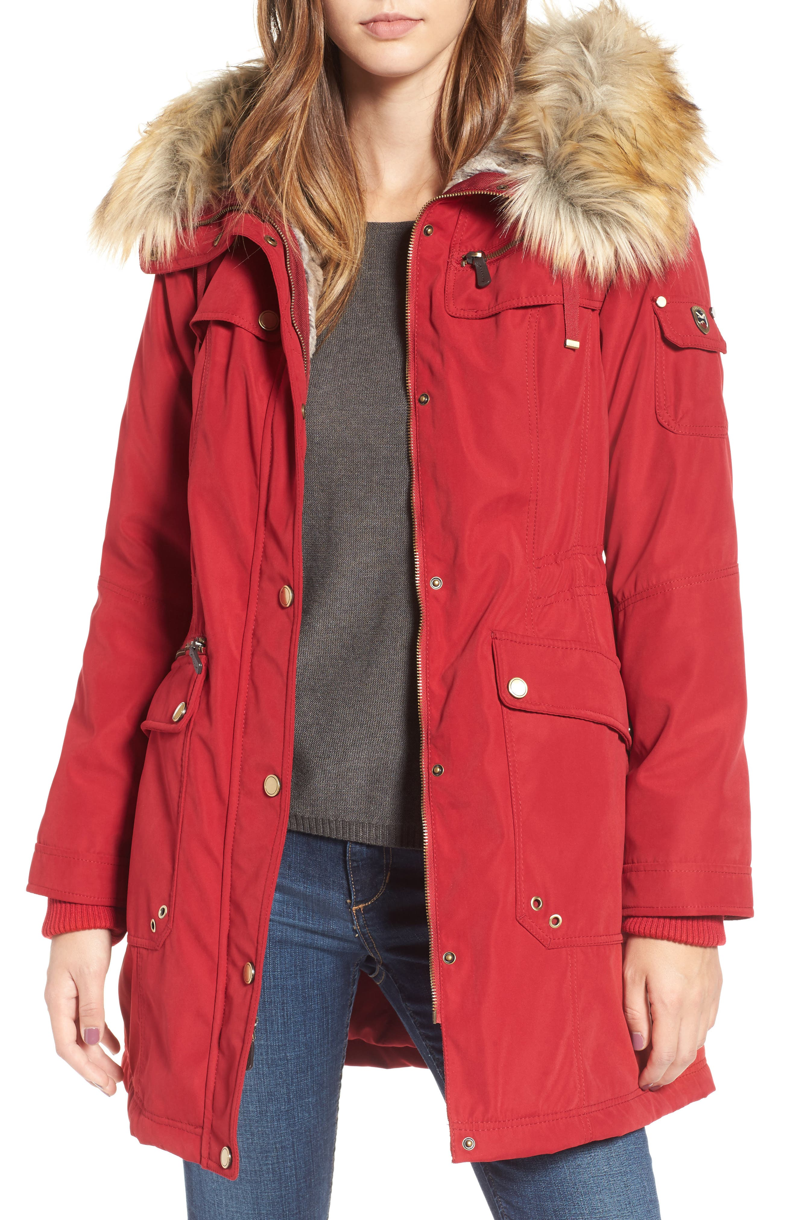 1 Madison Anorak Parka with Faux Fur Trim