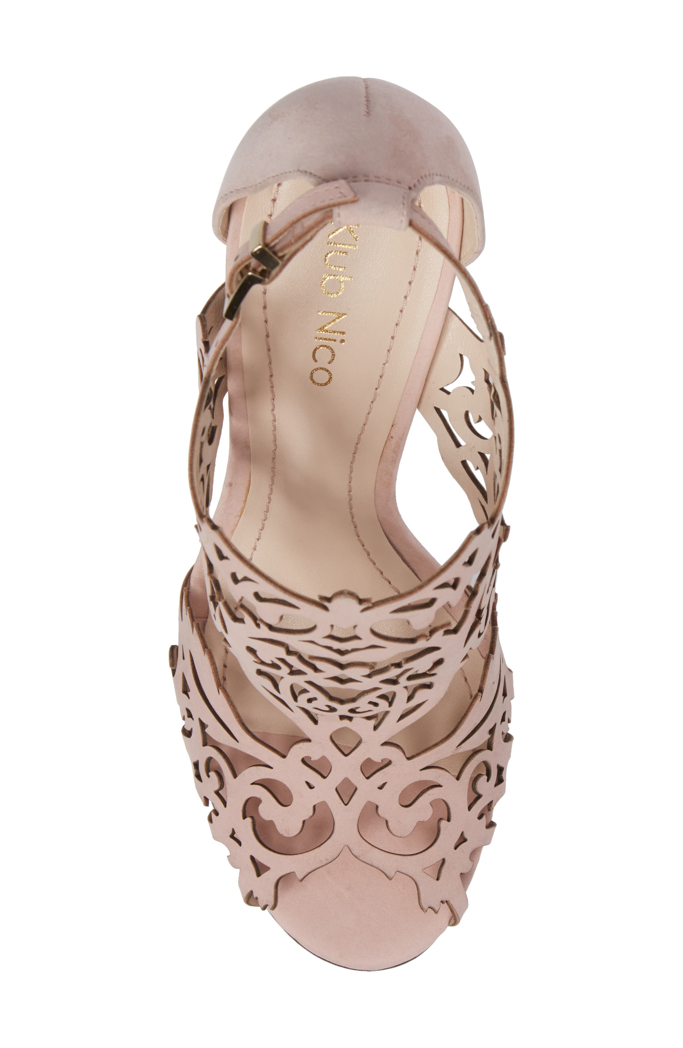 Marcela Laser Cutout Sandal,                             Alternate thumbnail 5, color,                             Blush Nubuck Leather