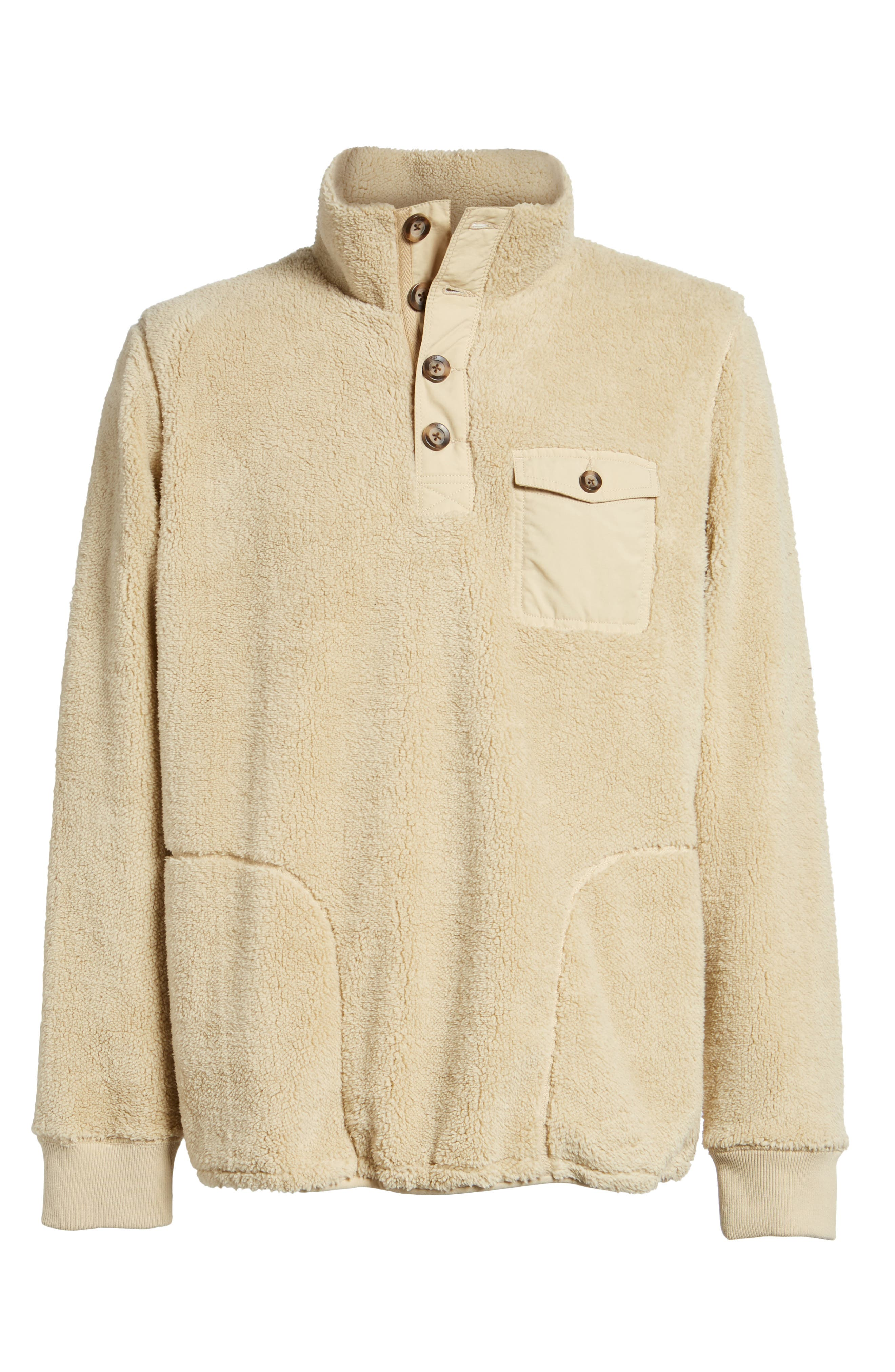 Fuzzy Faux Shearling Pullover,                             Alternate thumbnail 6, color,                             Sand