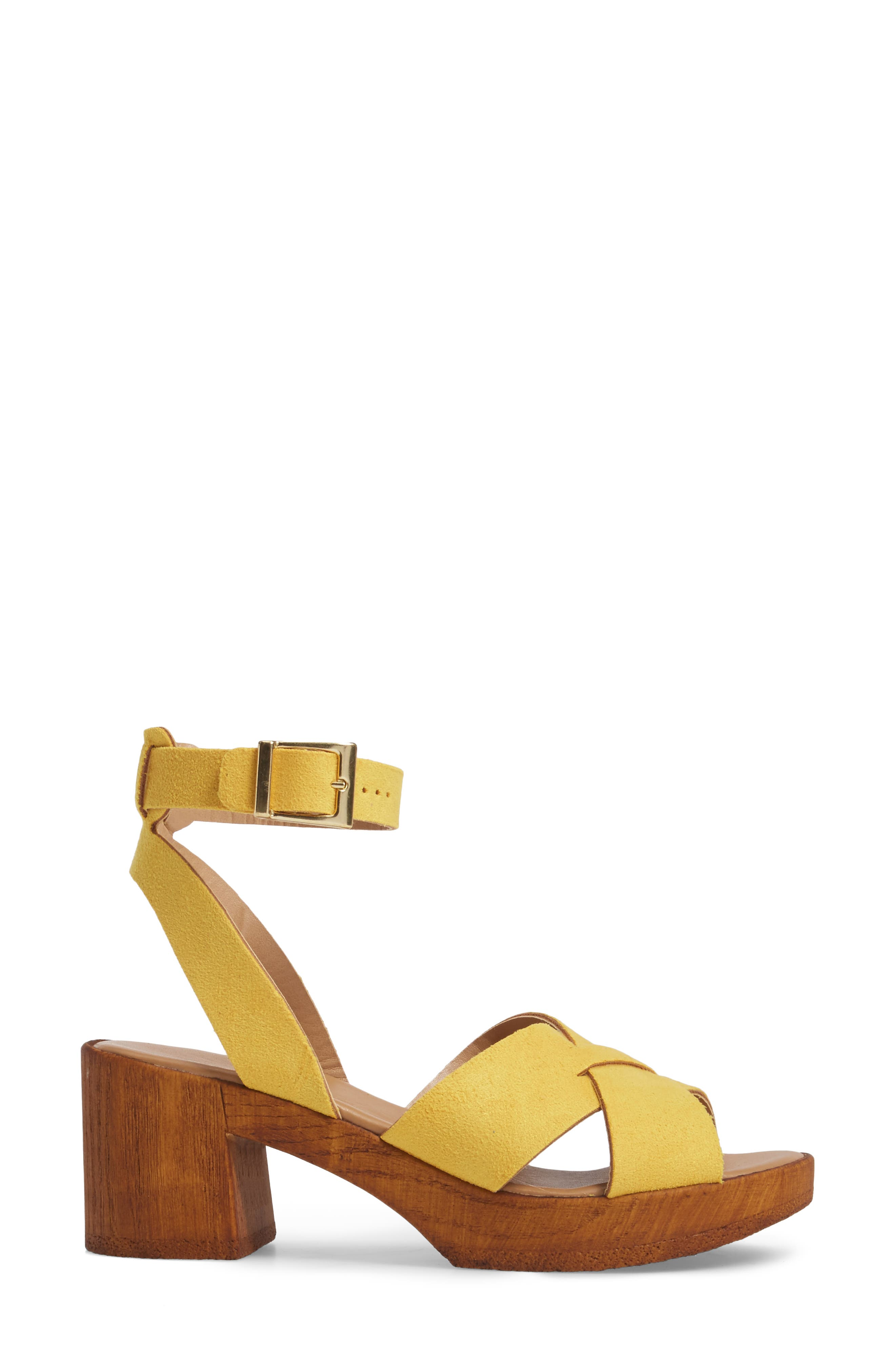 Dolly Block Heel Sandal,                             Alternate thumbnail 5, color,                             Yellow