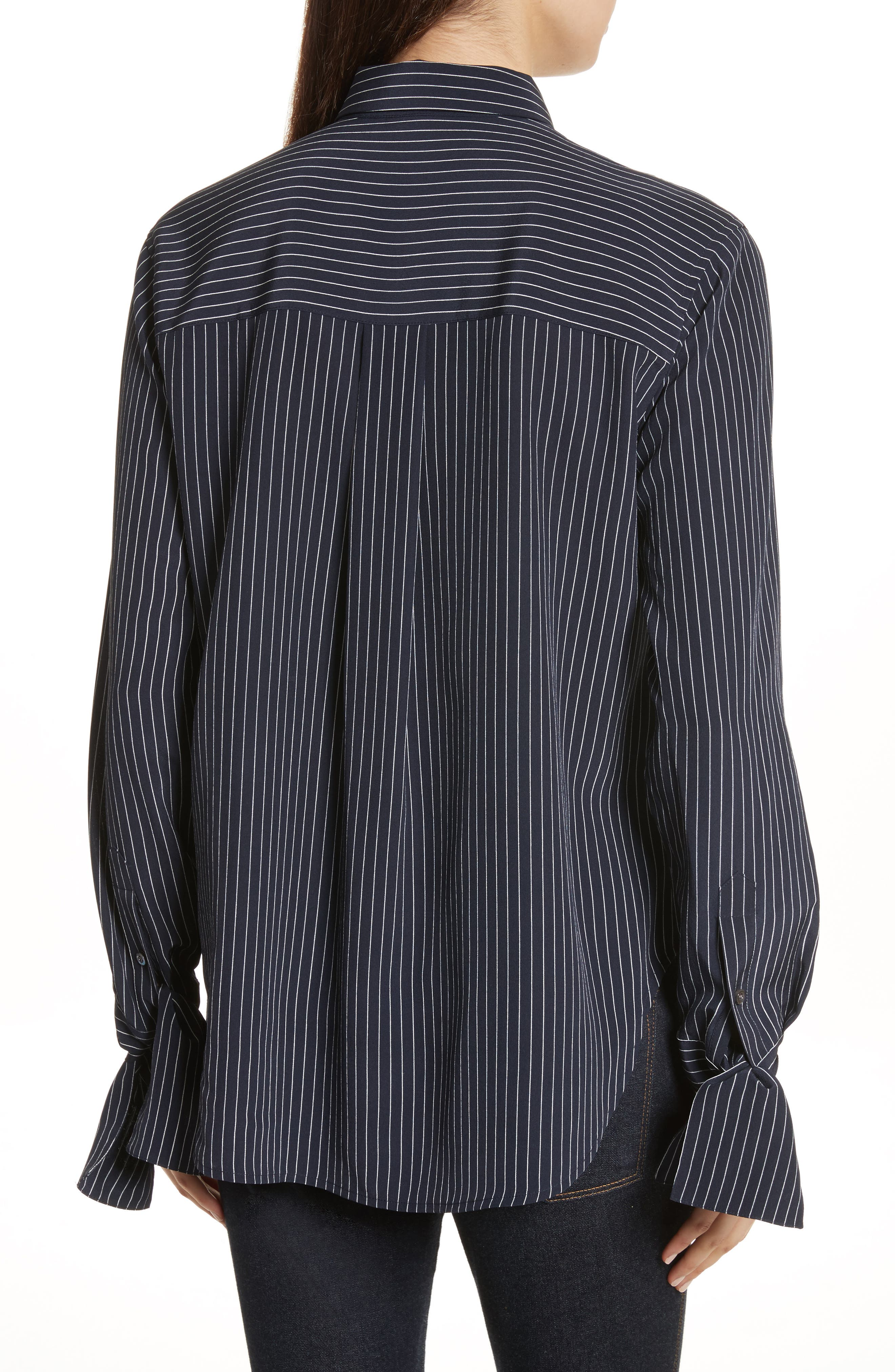 Tie Cuff Pinstripe Silk Blouse,                             Alternate thumbnail 2, color,                             Deep Navy/ Ivory
