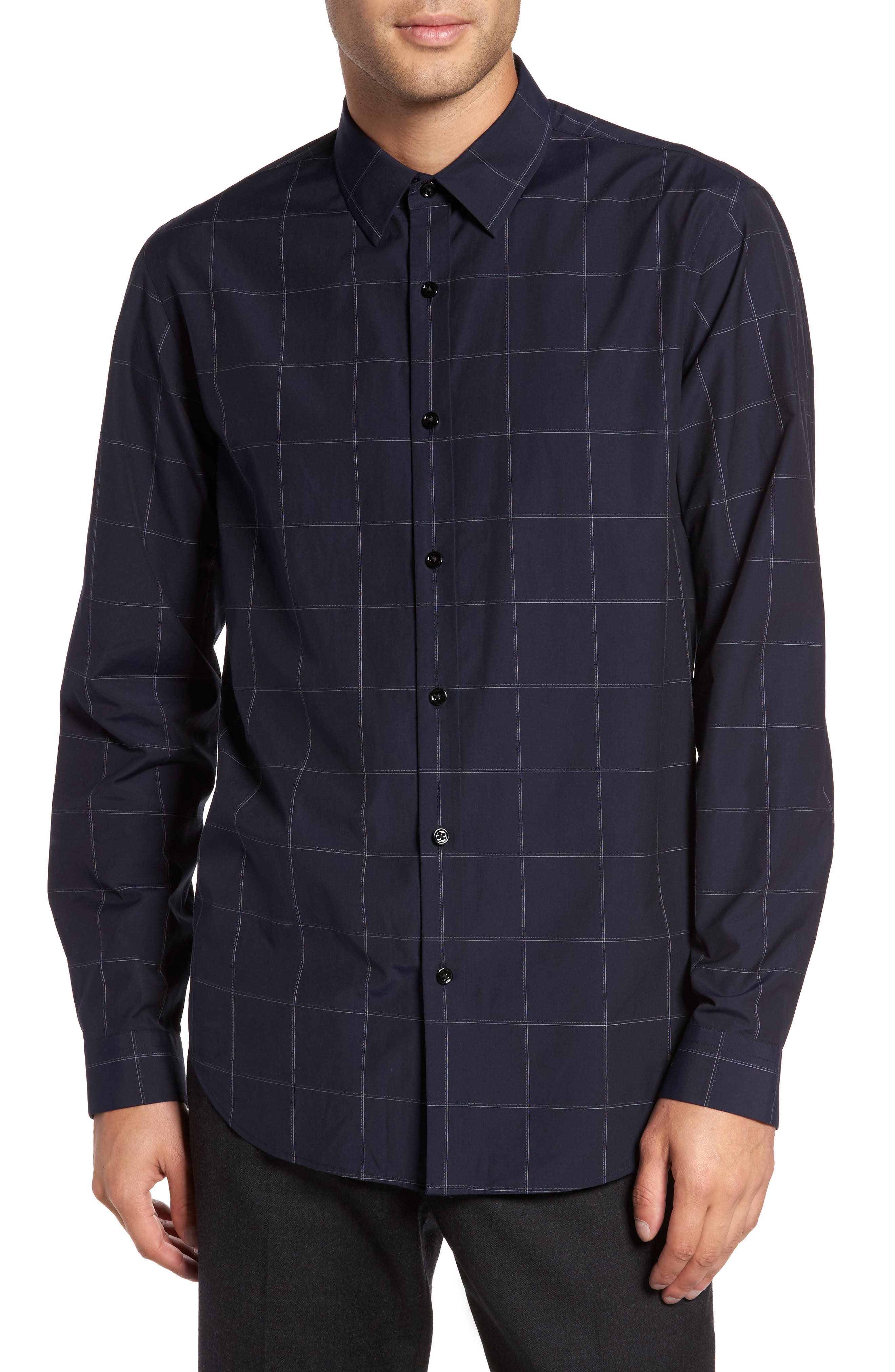 Alternate Image 1 Selected - Theory Grid Woven Sport Shirt