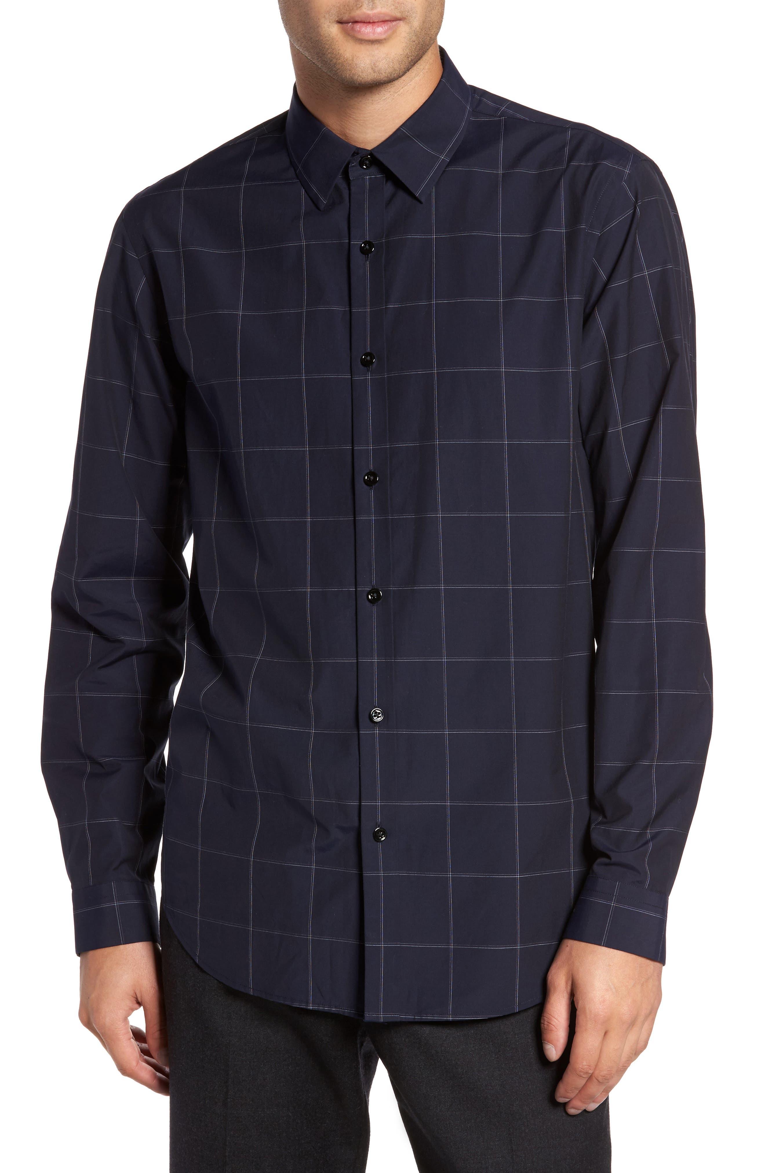 Grid Woven Sport Shirt,                         Main,                         color, Eclipse Multi