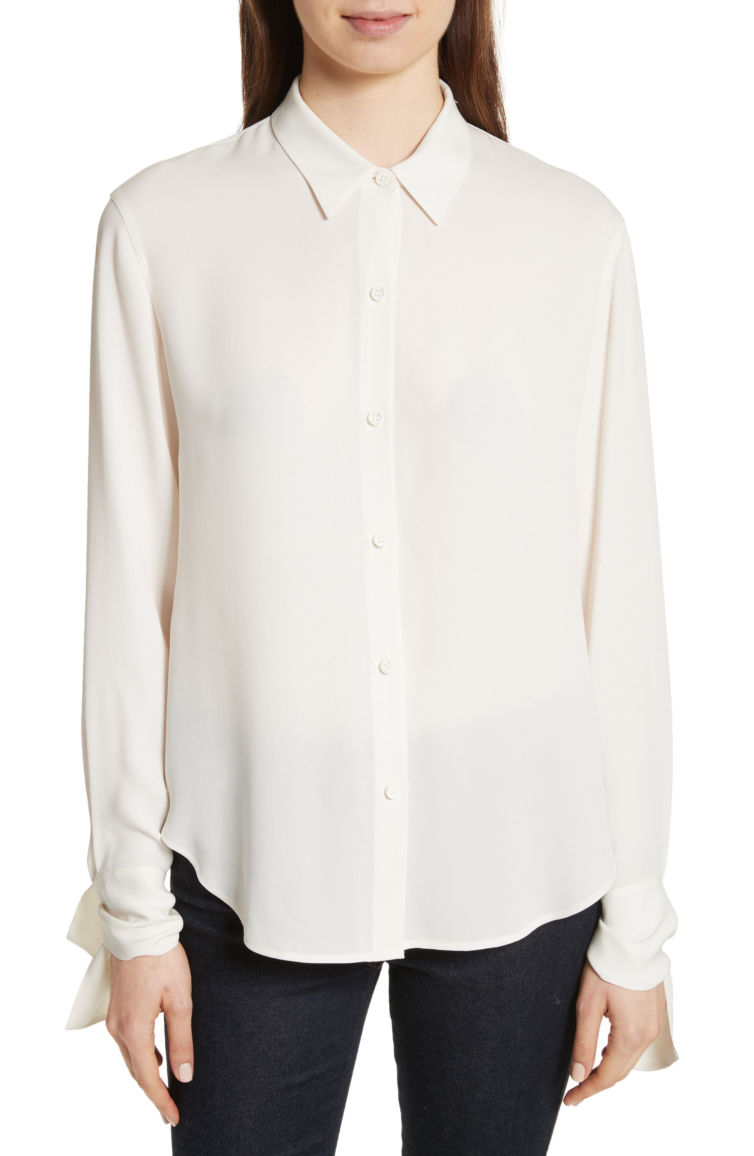 Tie Cuff Silk Georgette Shirt,                         Main,                         color, Ivory