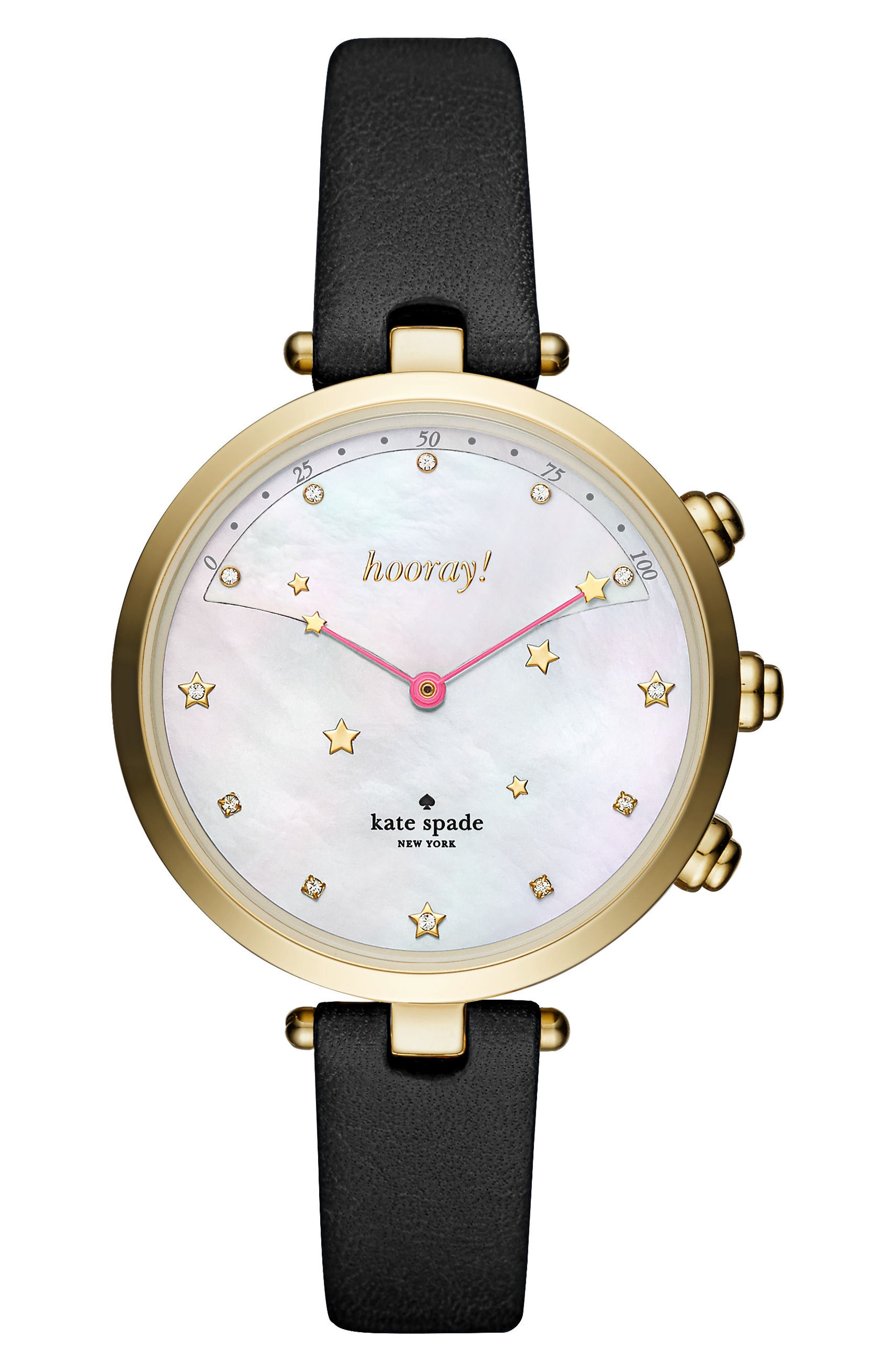 Main Image - kate spade new york holland hybrid leather strap watch, 37mm