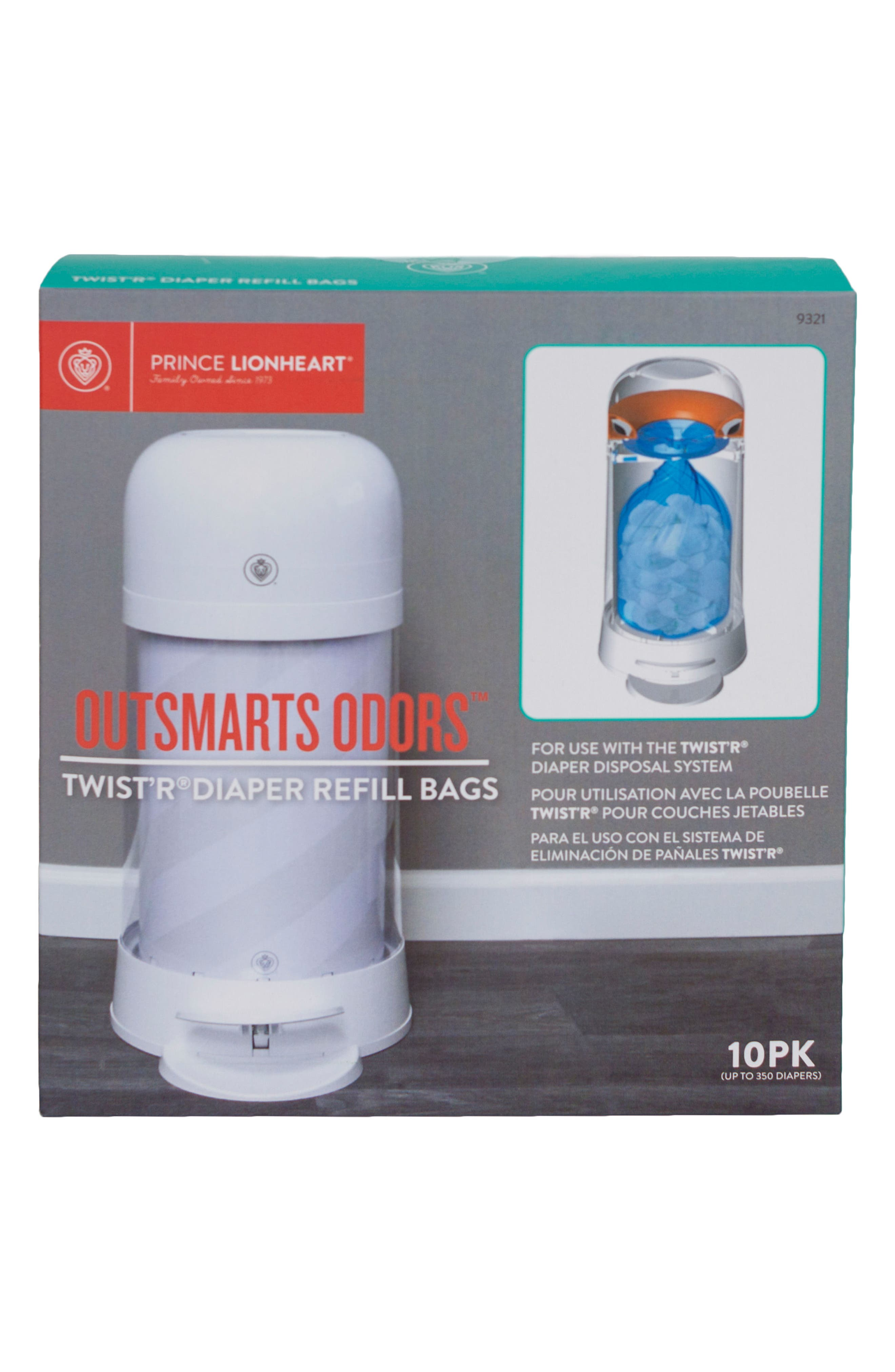 Alternate Image 2  - Prince Lionheart Twist'r Diaper Disposal System Set of 10 Refill Bags
