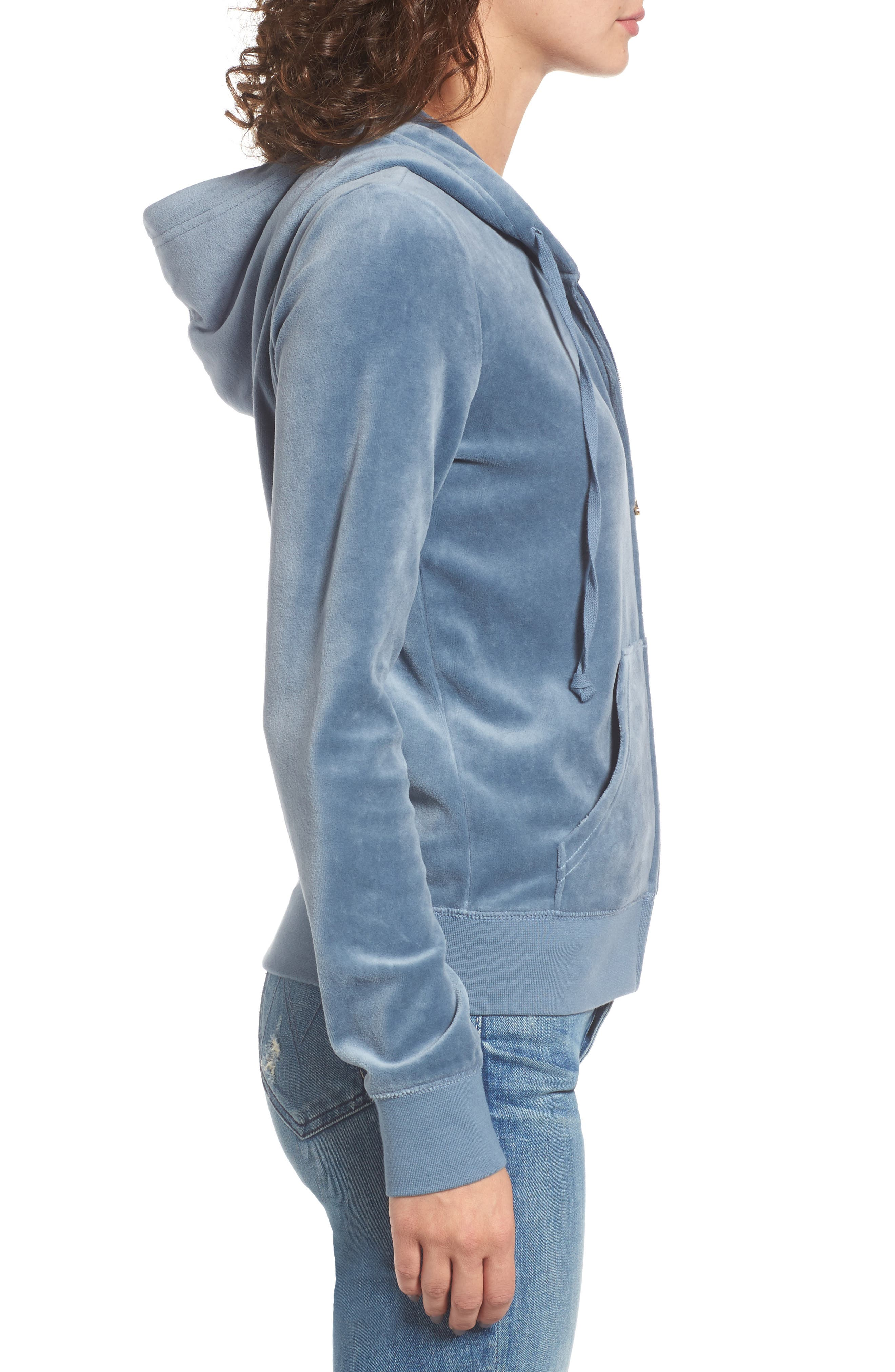 Robertson Crystal Velour Hoodie,                             Alternate thumbnail 3, color,                             Dusty Navy