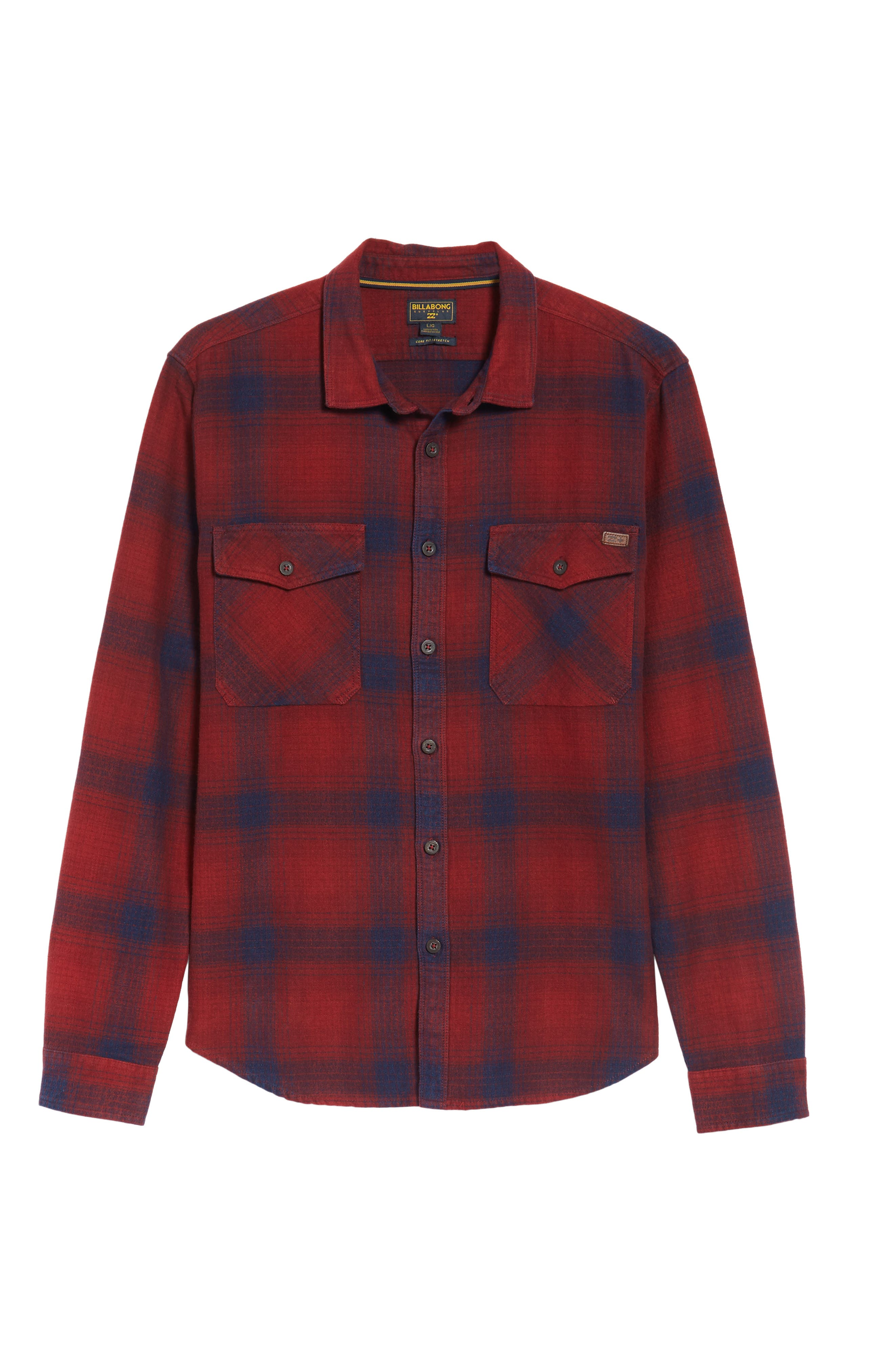 Ventura Flannel Shirt,                             Alternate thumbnail 6, color,                             Red