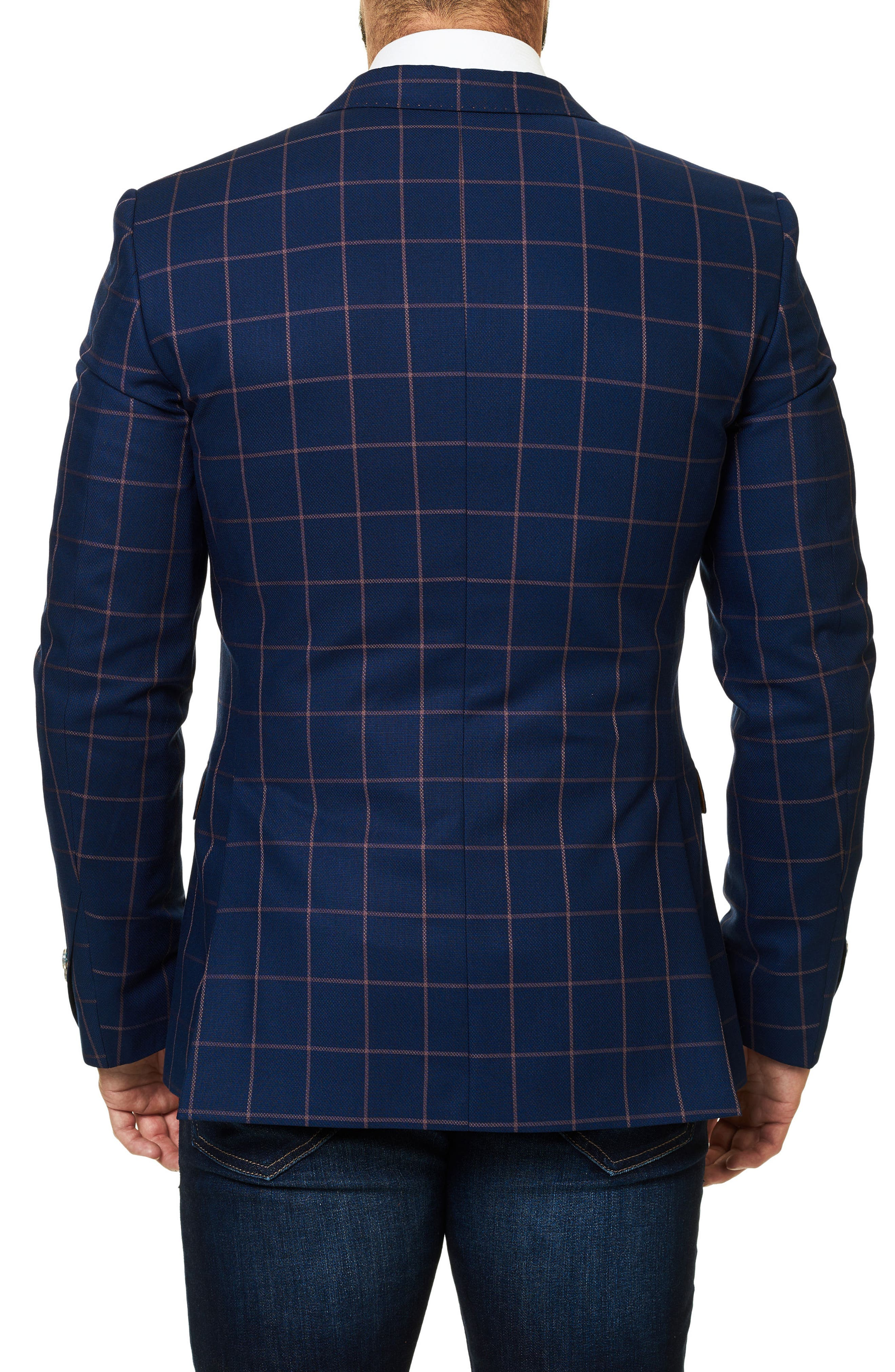Descarte Windowpane Sport Coat,                             Alternate thumbnail 2, color,                             Medium Blue