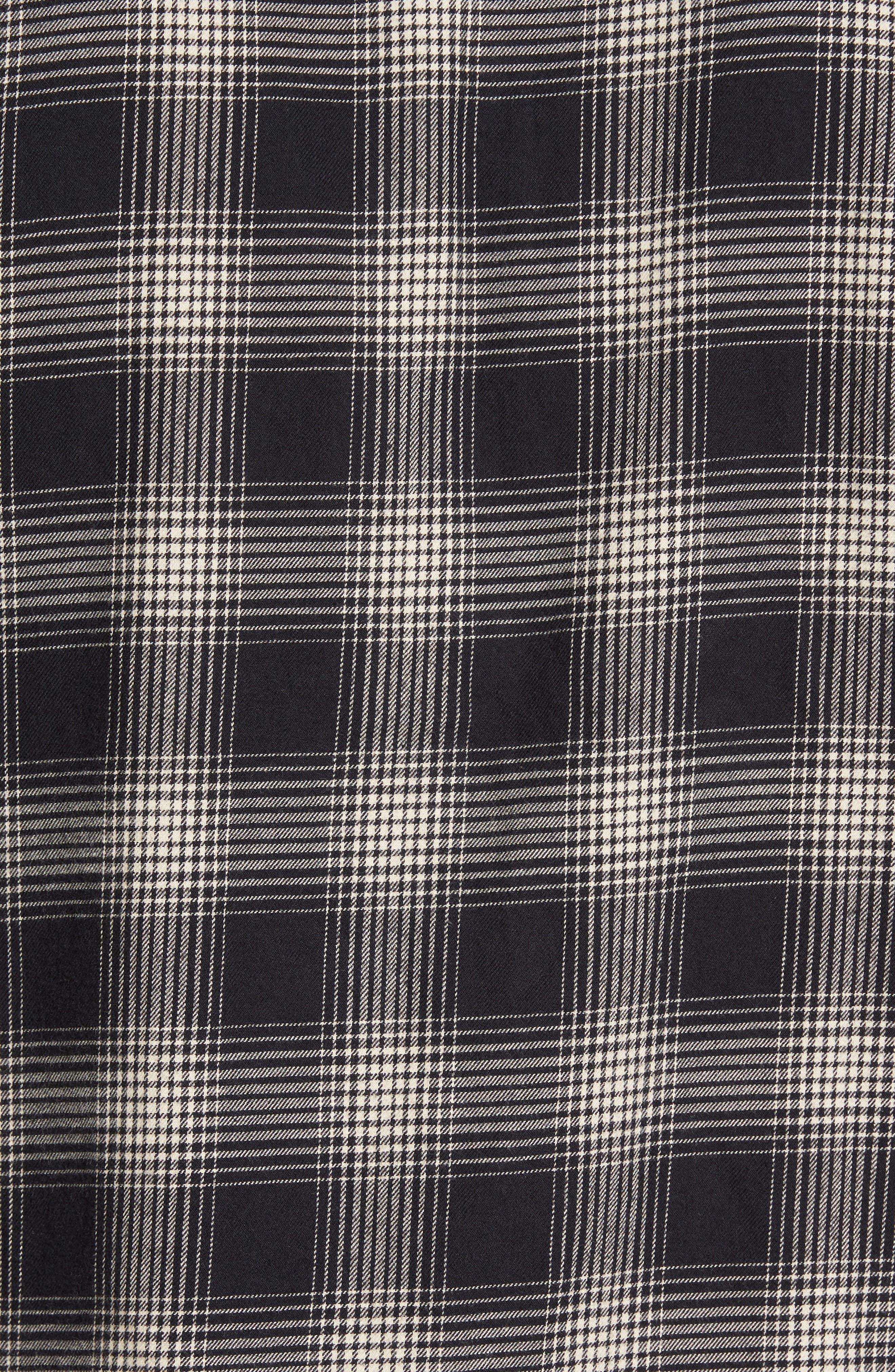 Slim Fit Plaid Brushed Twill Sport Shirt,                             Alternate thumbnail 5, color,                             Black/ Brown Plaid