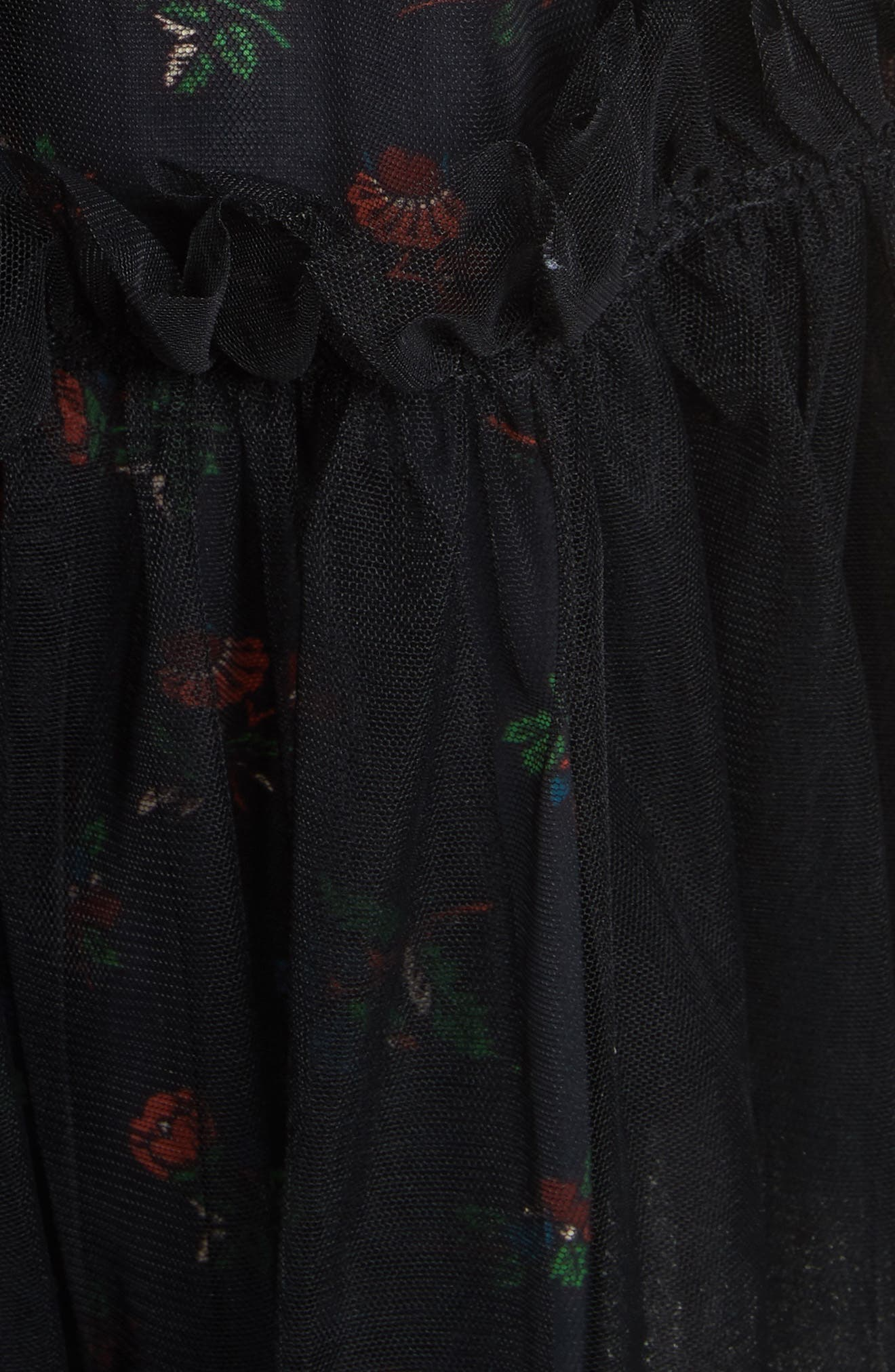Ruby Tulle Floral Dress,                             Alternate thumbnail 6, color,                             Black