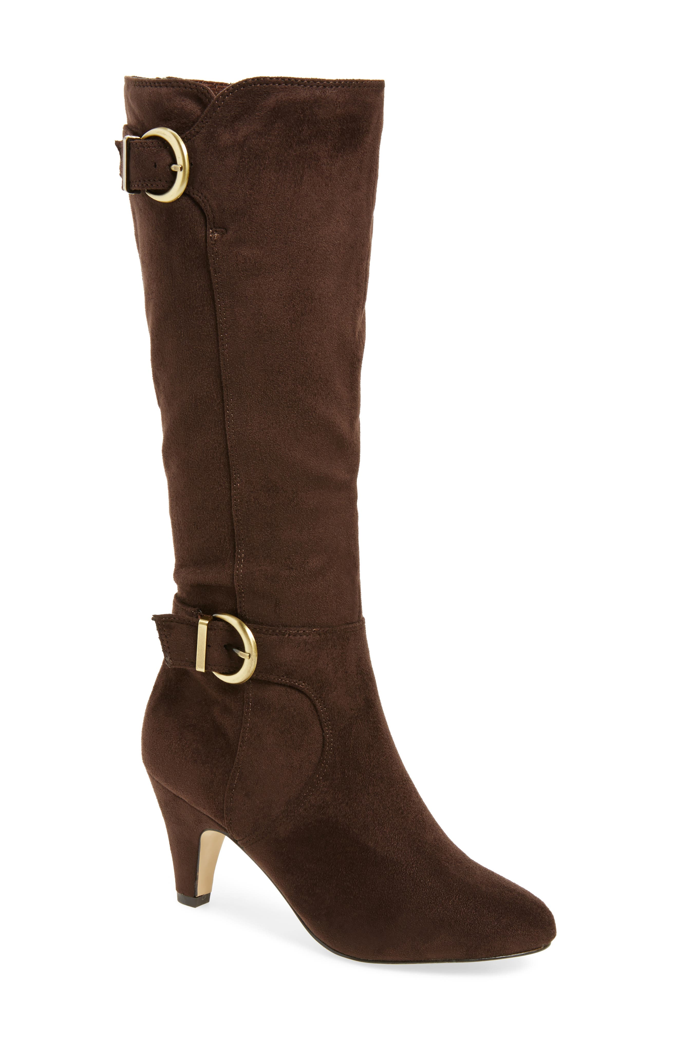 Toni II Knee High Boot,                             Main thumbnail 1, color,                             Brown Suede