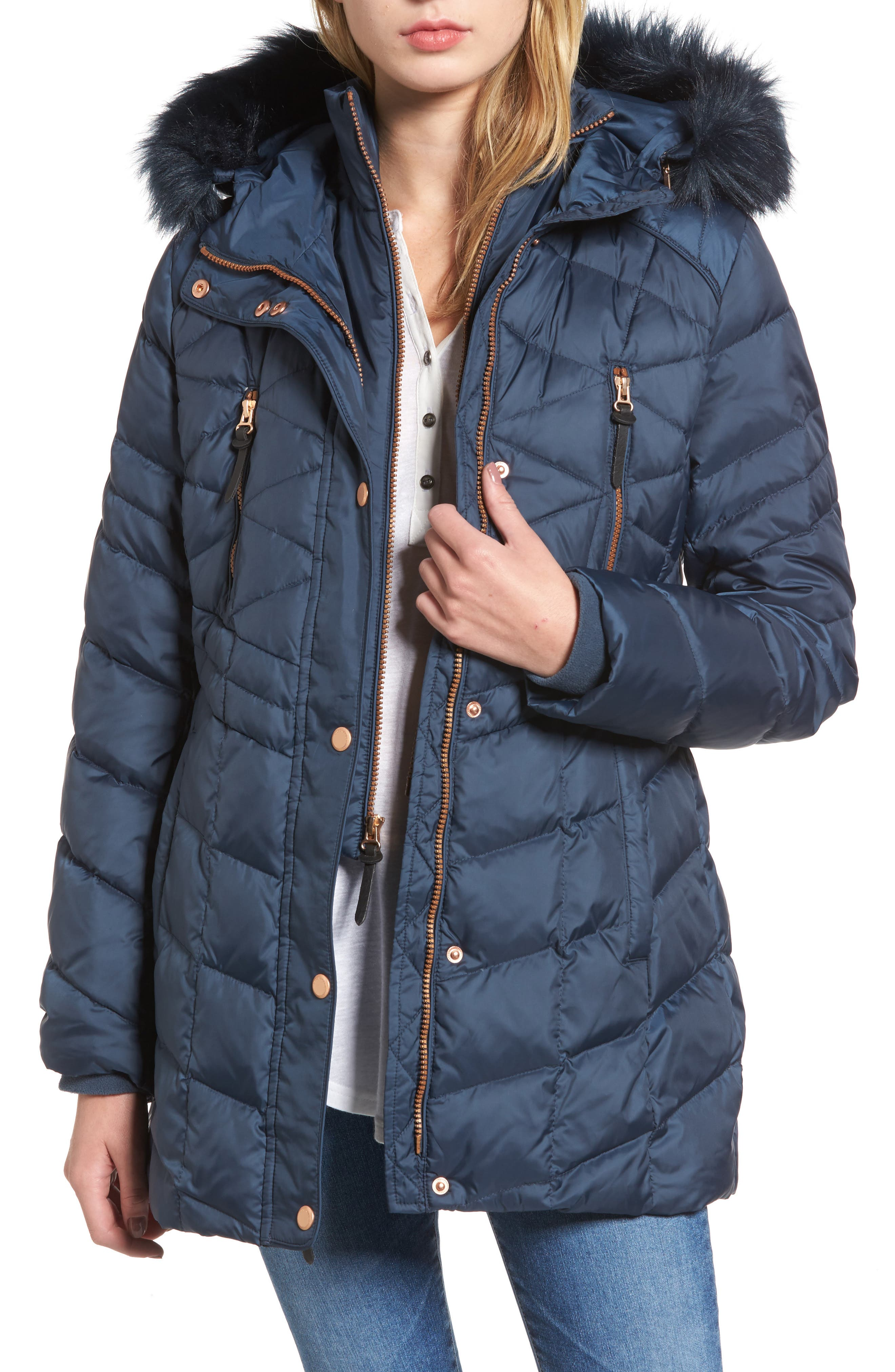 Andrew Marc Marley 30 Coat with Detachable Faux Fur
