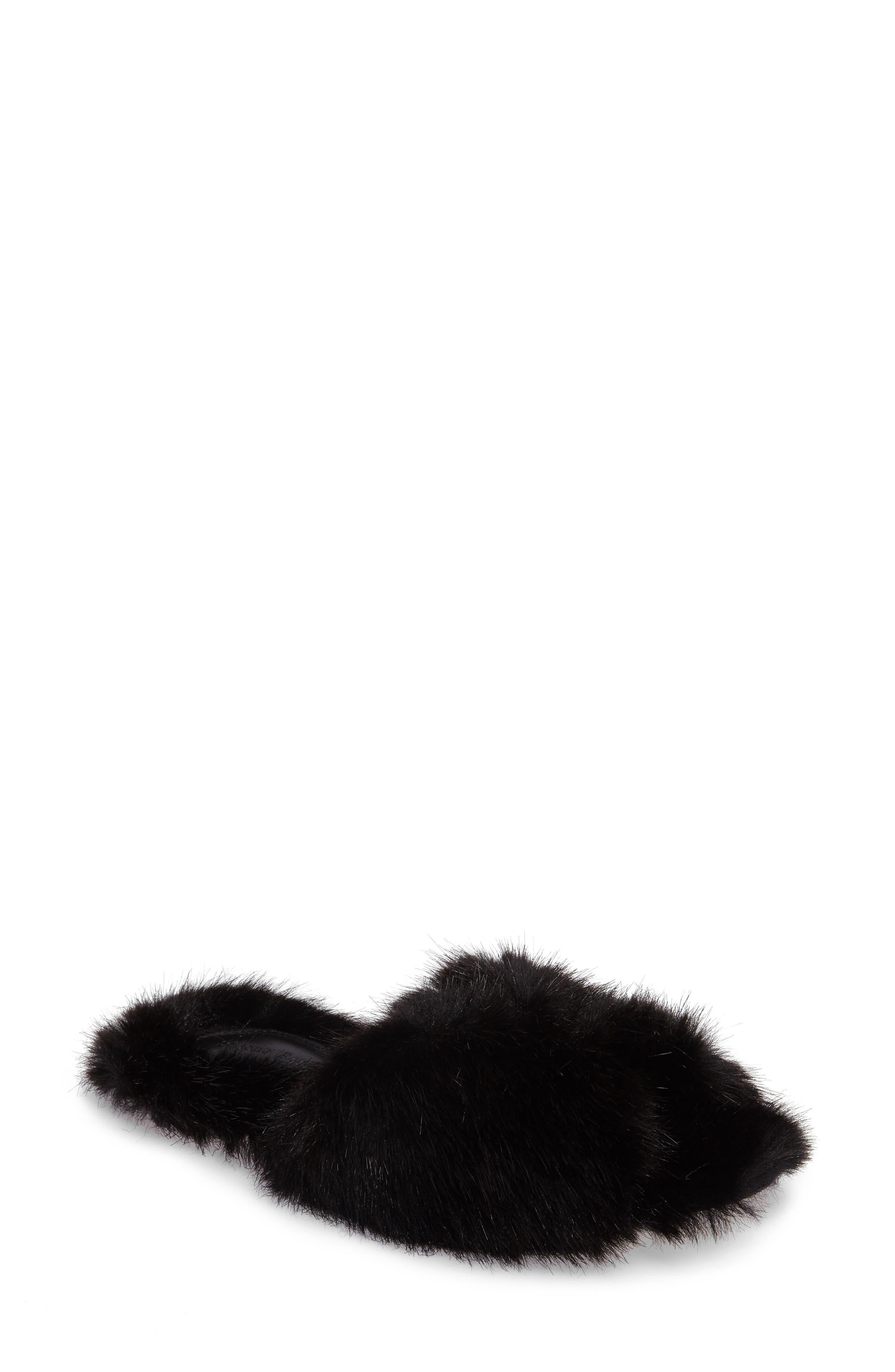 Faux Fur Mule,                         Main,                         color, Black