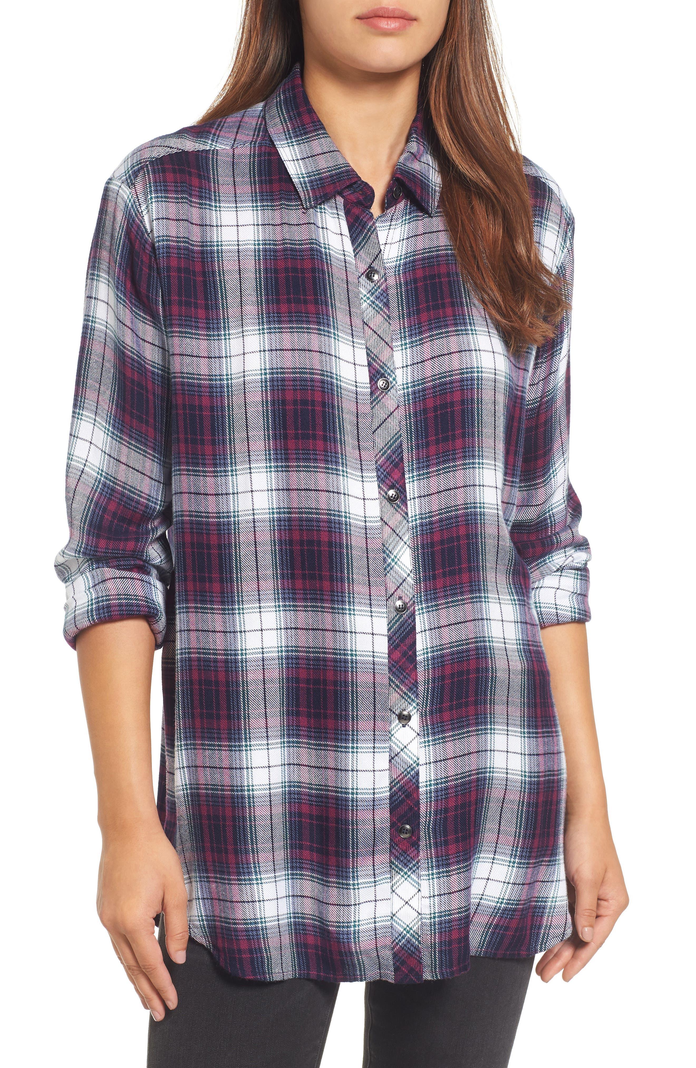 Caslon® Button Side Detail Tunic Shirt (Regular & Petite)