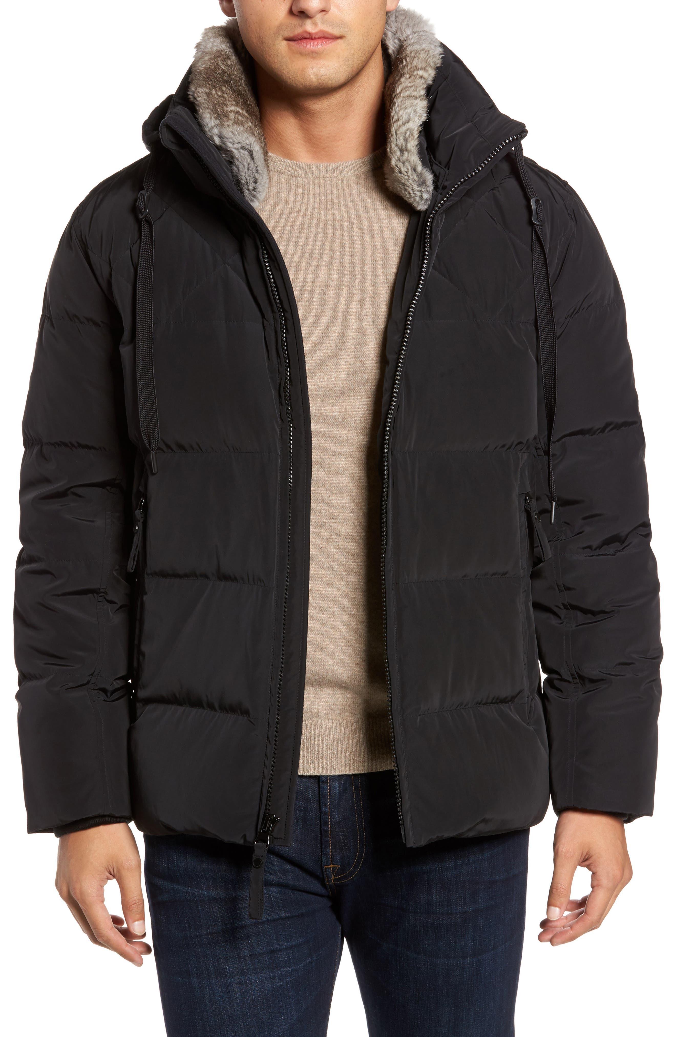 Navan Quilted Down Jacket with Genuine Rabbit Fur Trim,                         Main,                         color, Black