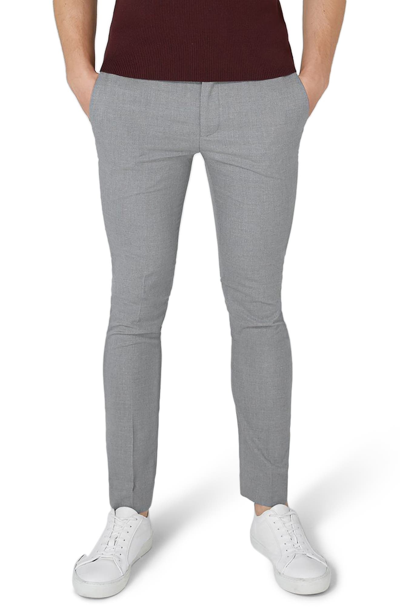 Ultra Skinny Fit Smart Trousers,                             Main thumbnail 1, color,                             Grey