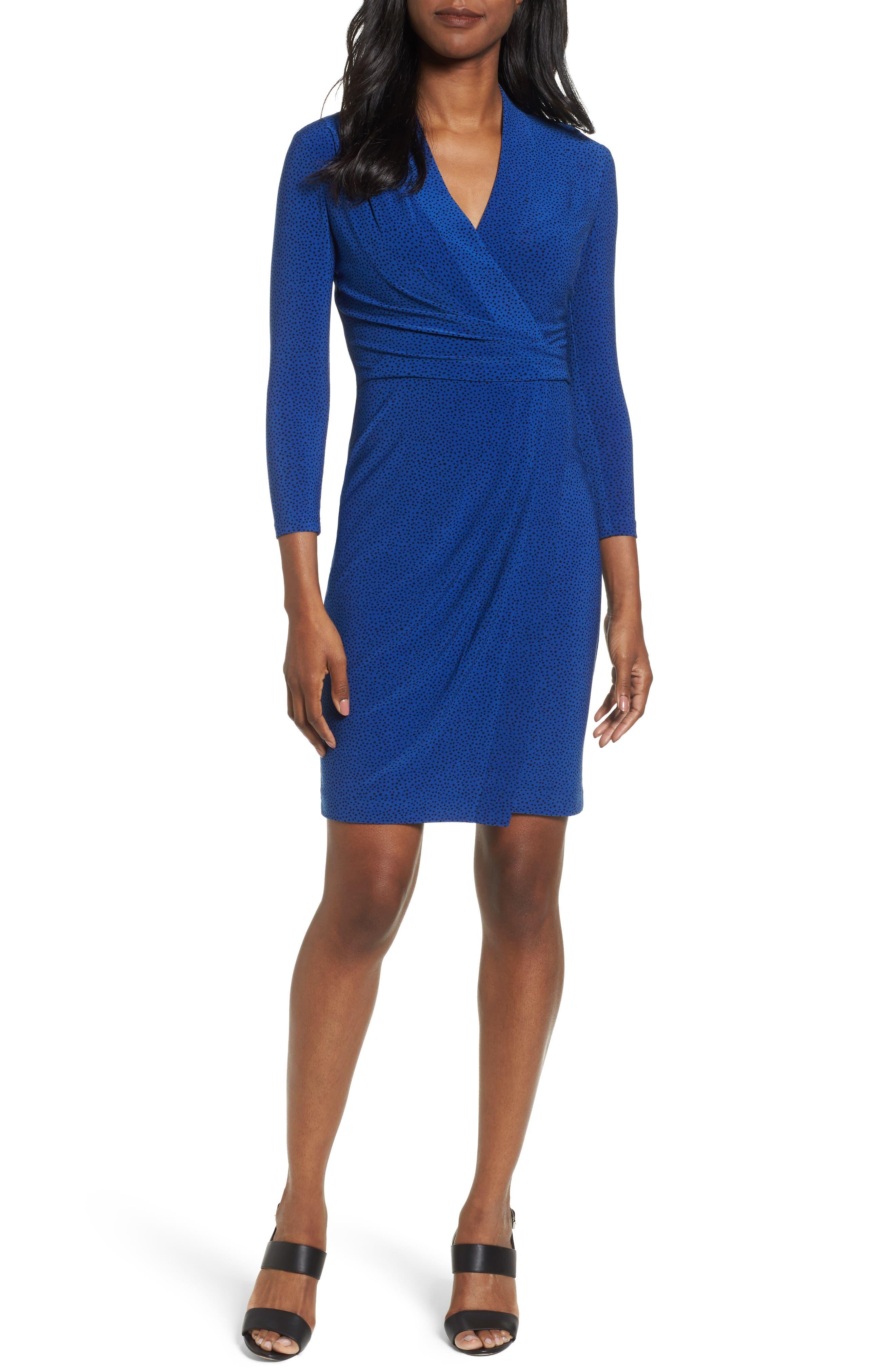 City Faux Wrap Dress,                         Main,                         color, Mariner/ Black