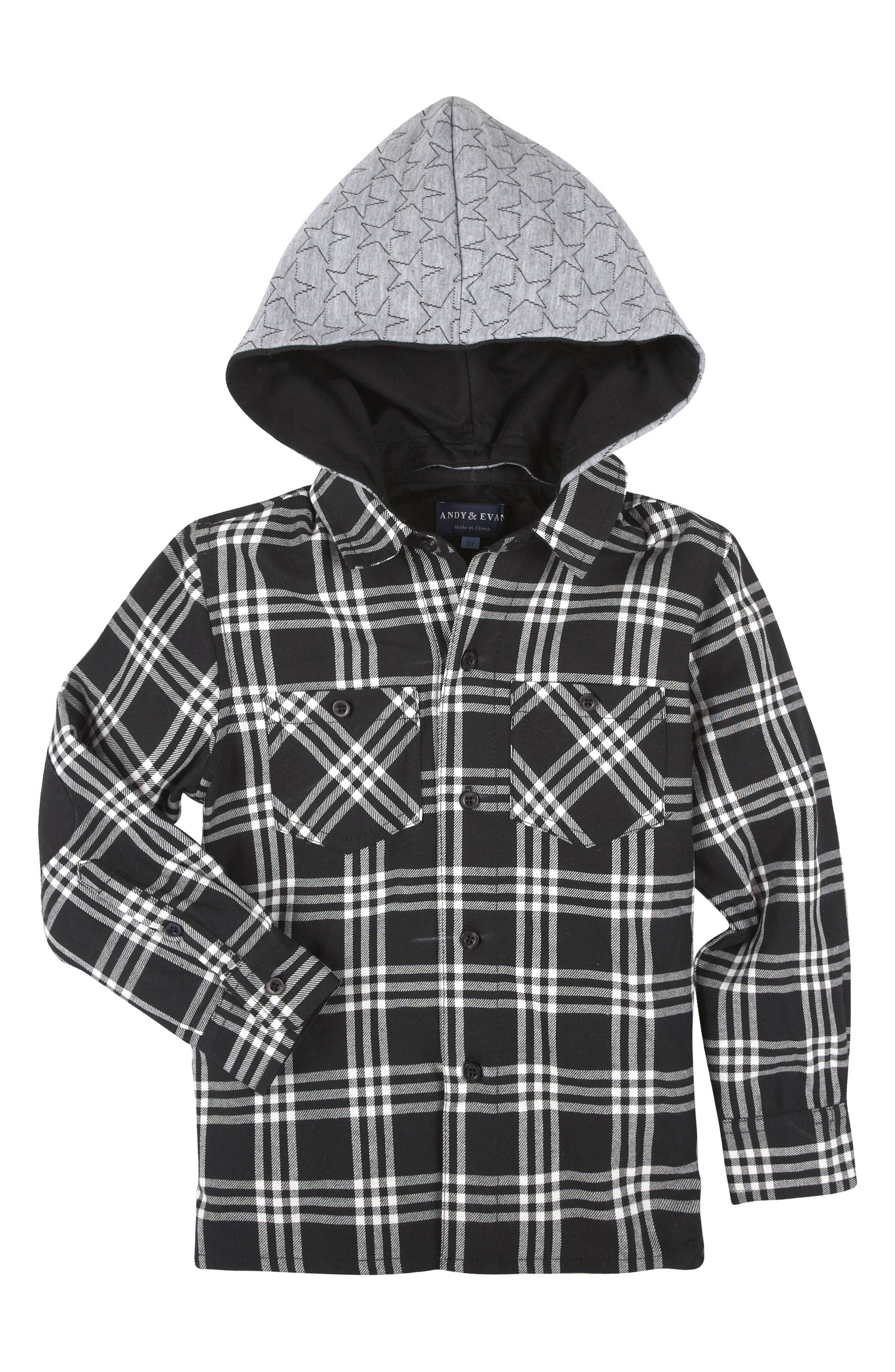Main Image - Andy & Evan Hooded Flannel Shirt (Baby Boys)