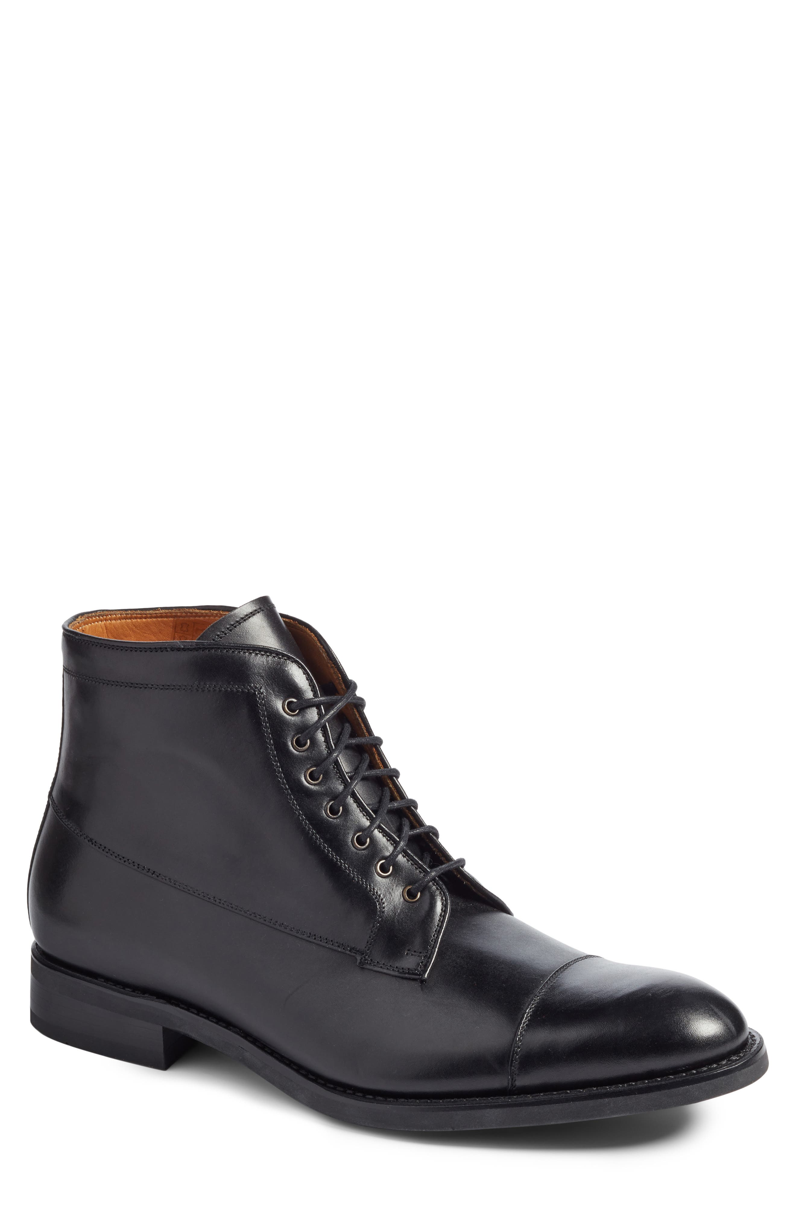 Chester Cap Toe Boot,                             Main thumbnail 1, color,                             Black Leather
