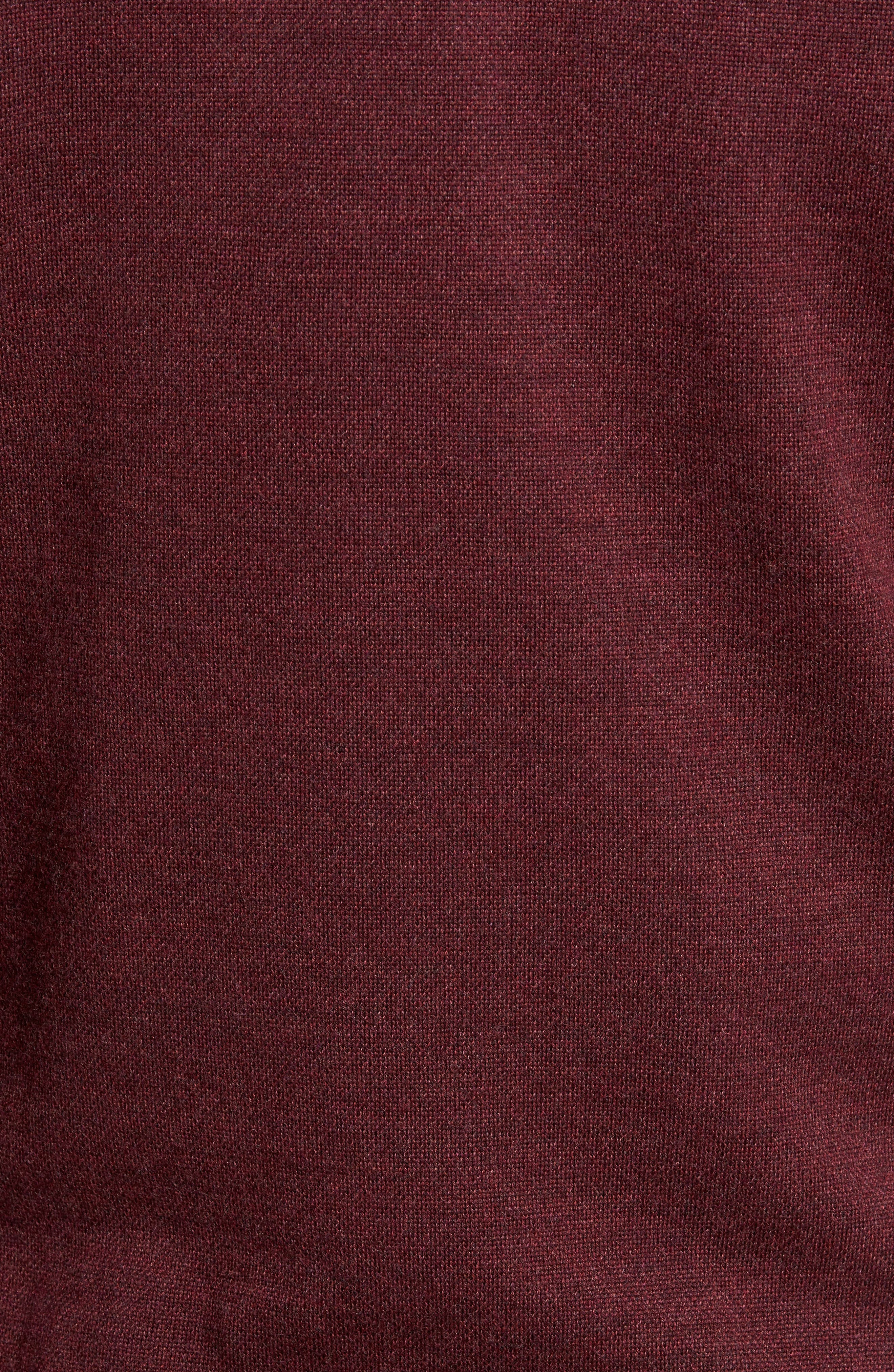 Quarter Zip Wool Pullover,                             Alternate thumbnail 5, color,                             French Wine