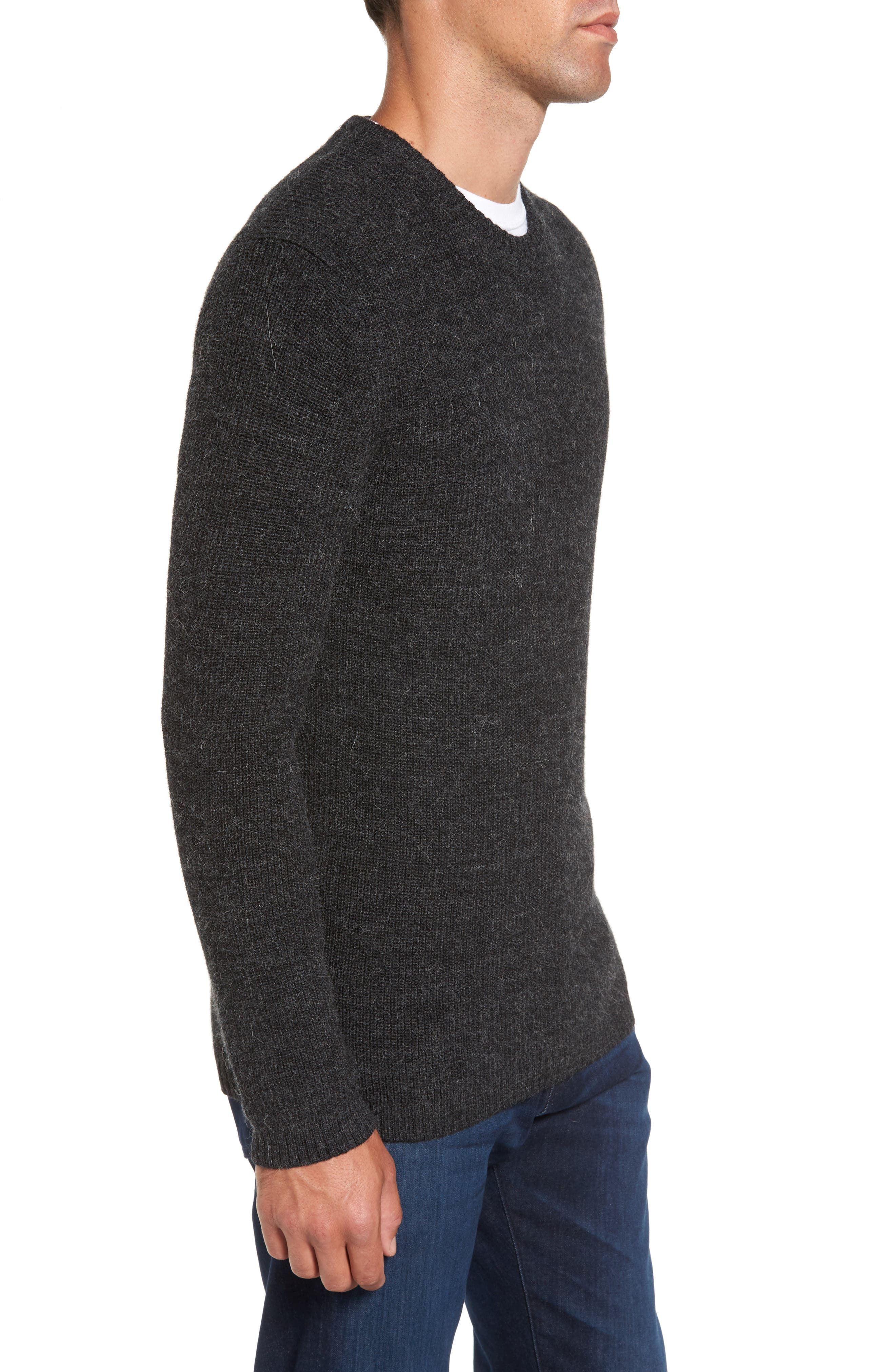 Whalers Bay Merino Wool Blend Sweater,                             Alternate thumbnail 3, color,                             Onyx