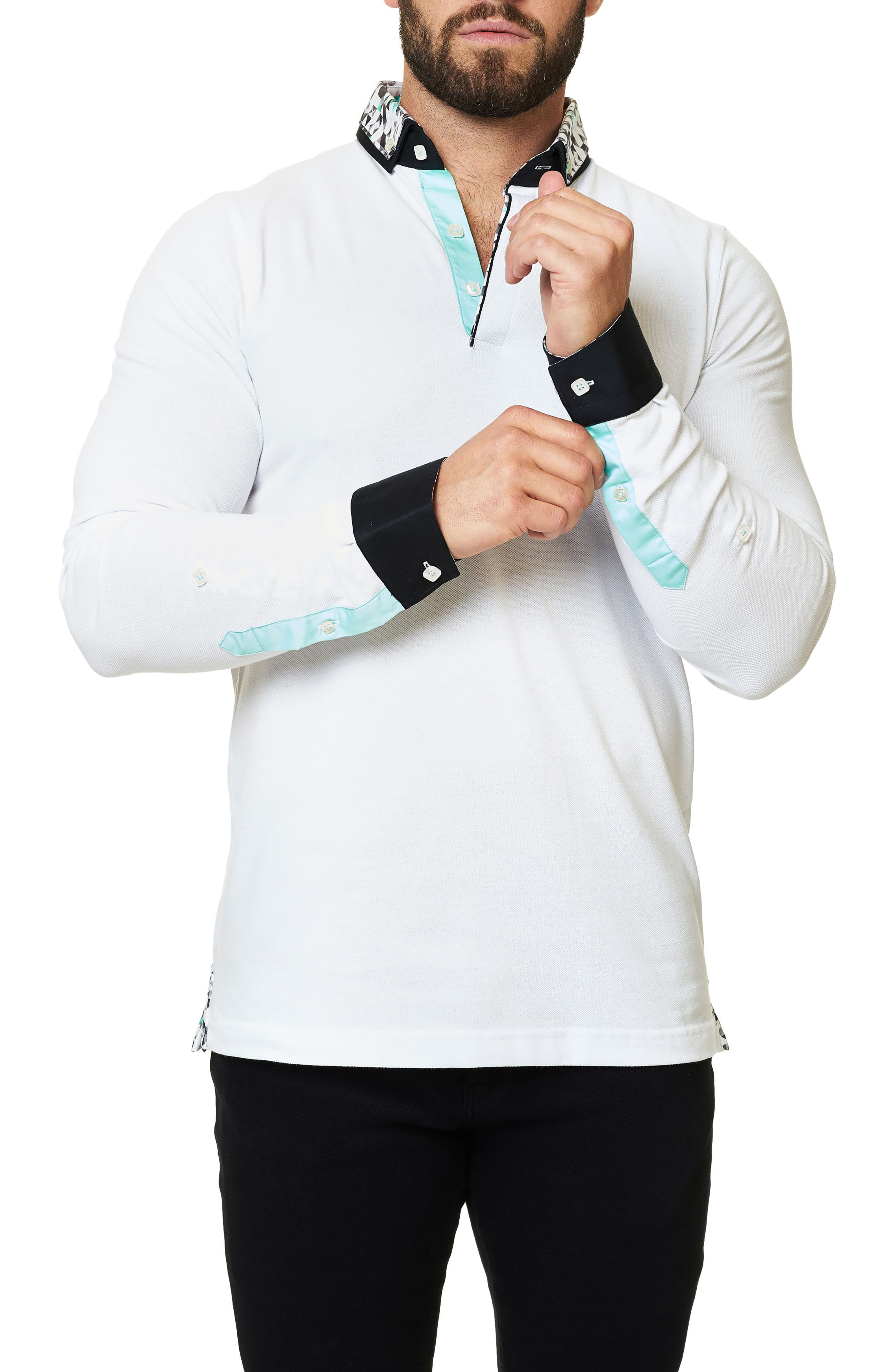 Long Sleeve Polo,                             Alternate thumbnail 4, color,                             Solid White