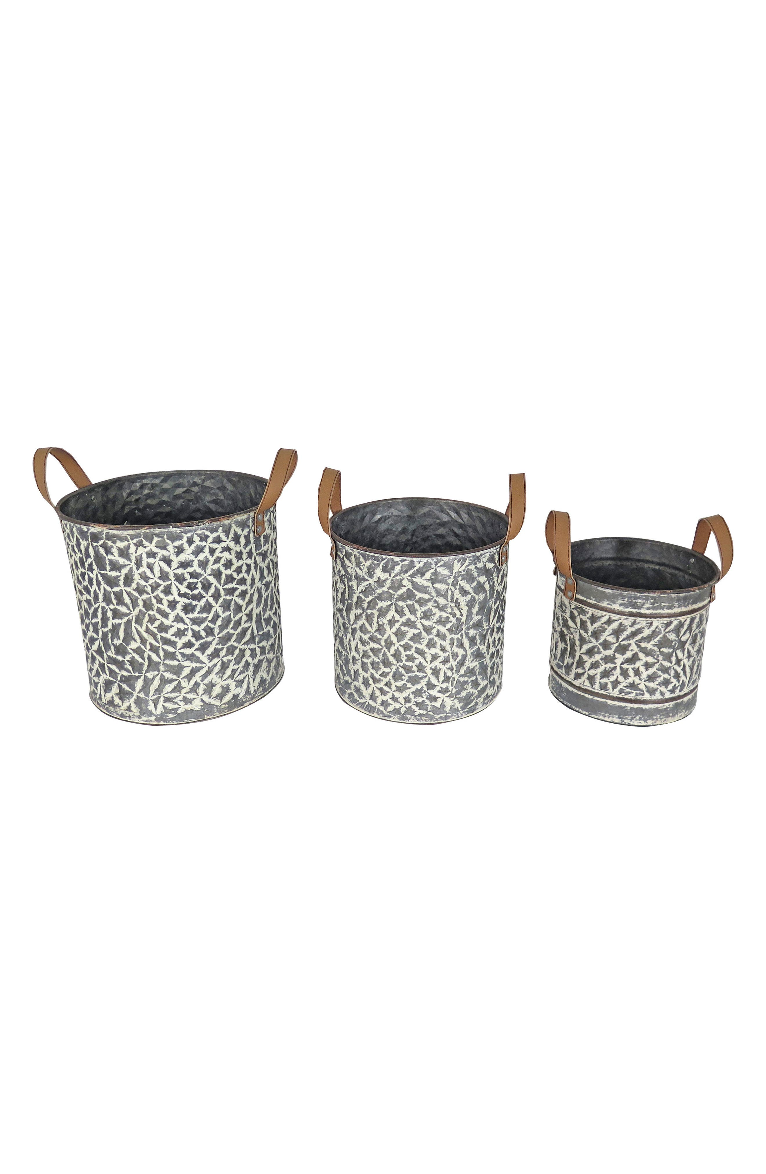 Langford Set of 3 Buckets,                         Main,                         color, Metal/ Faux Leather