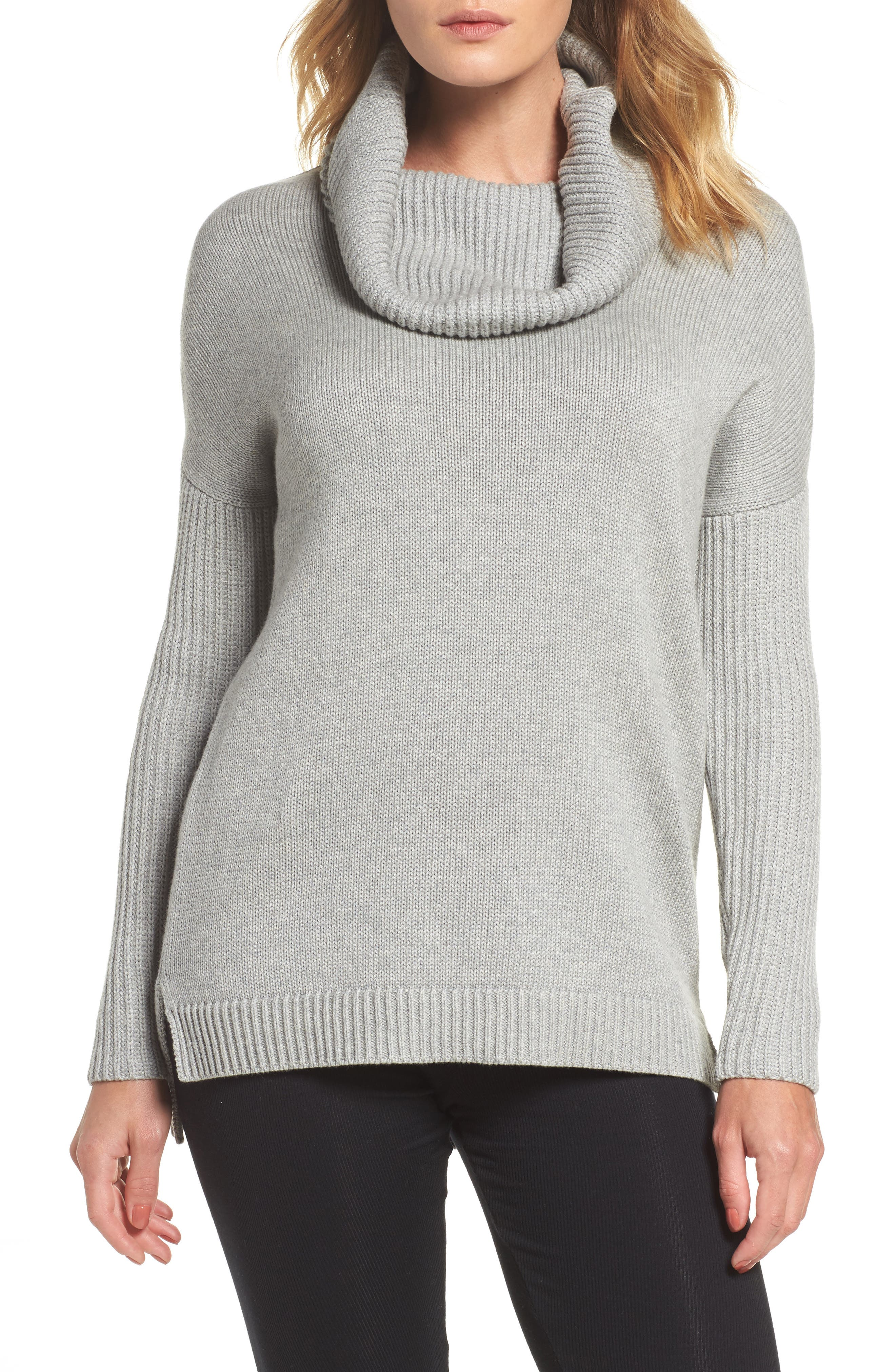 Cowl Neck Tunic Sweater,                         Main,                         color, Grey Heather