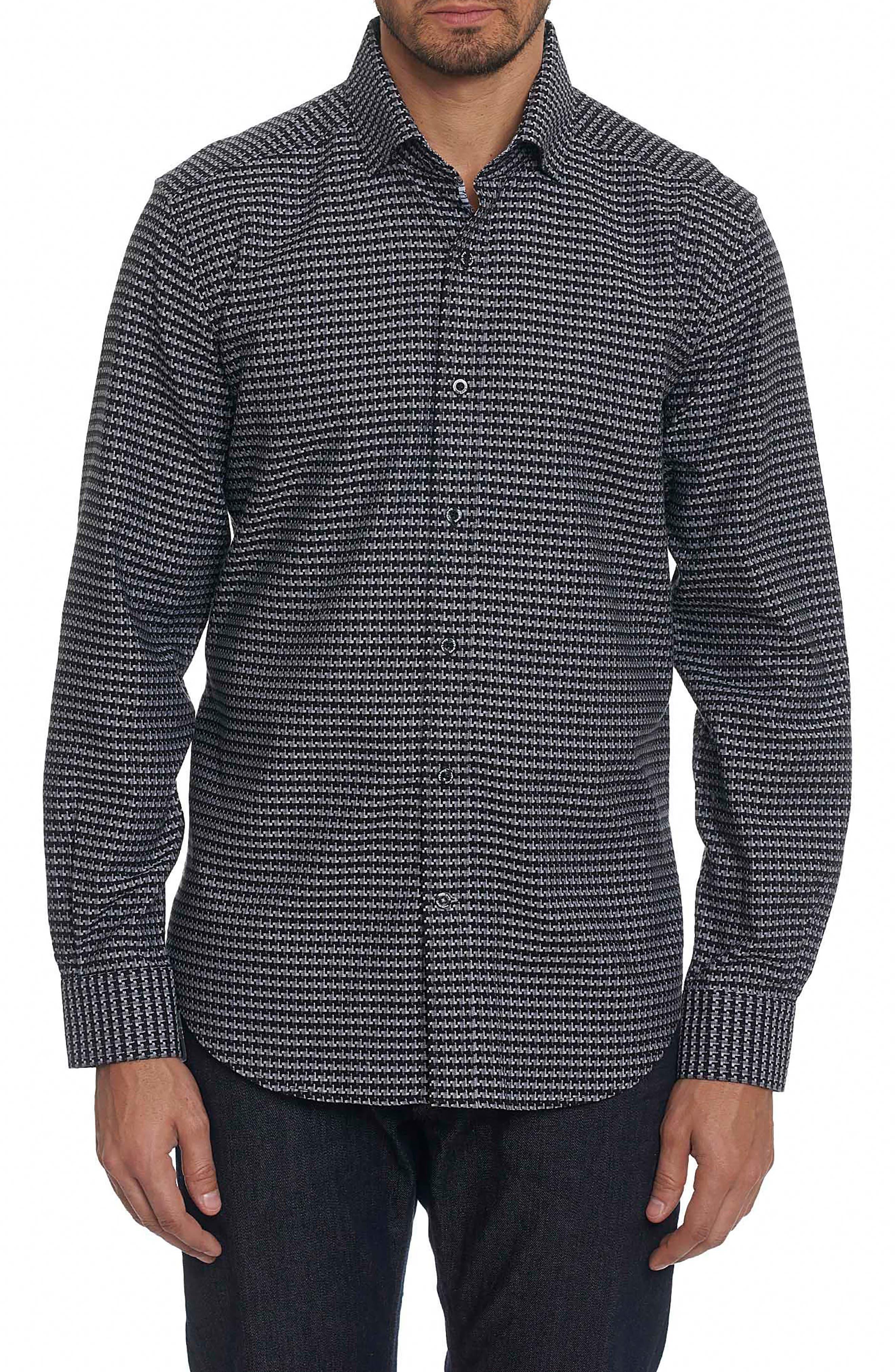 Landen Tailored Fit Print Sport Shirt,                         Main,                         color, Black