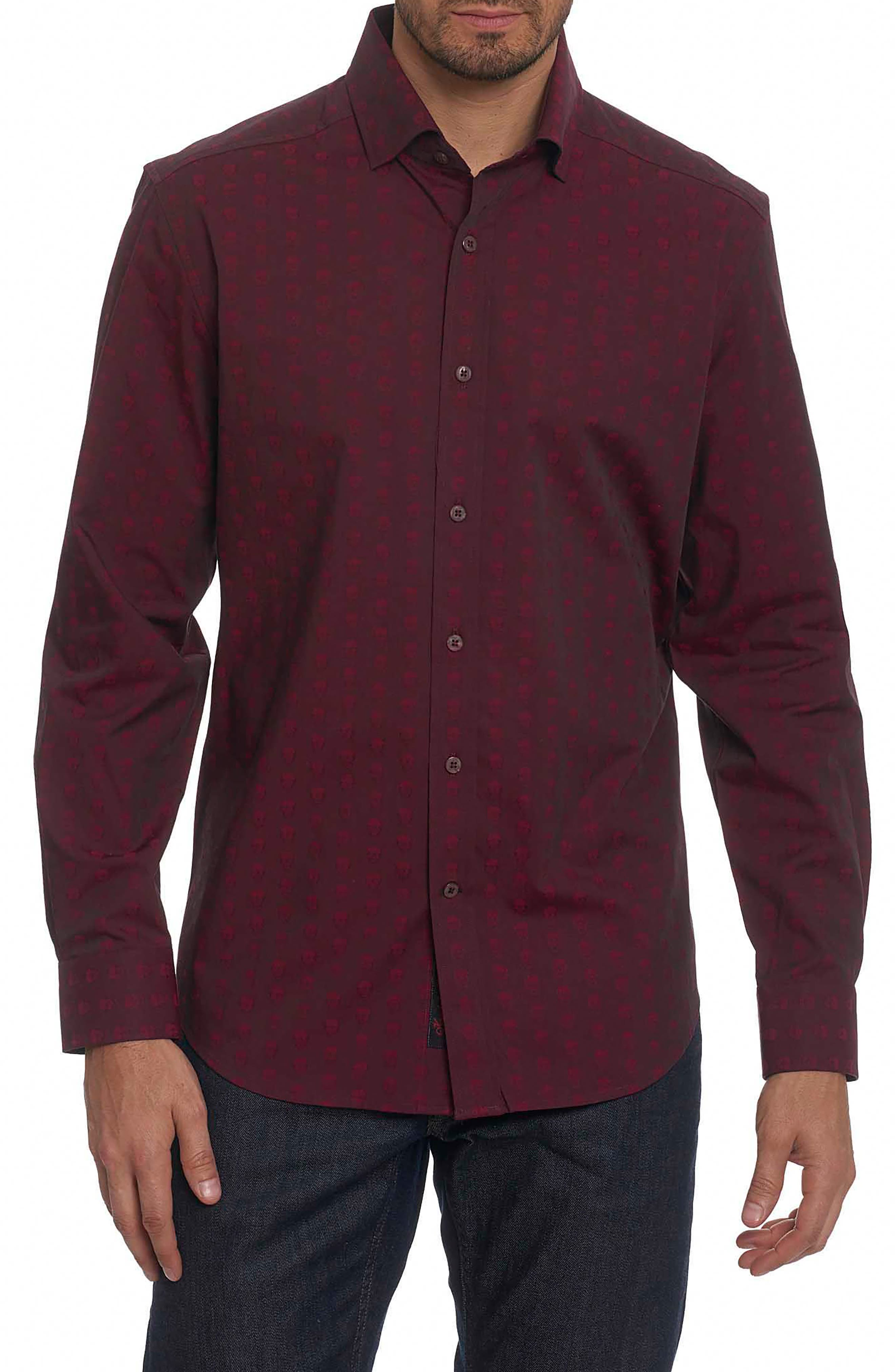 Deven Tailored Fit Sport Shirt,                         Main,                         color, Red