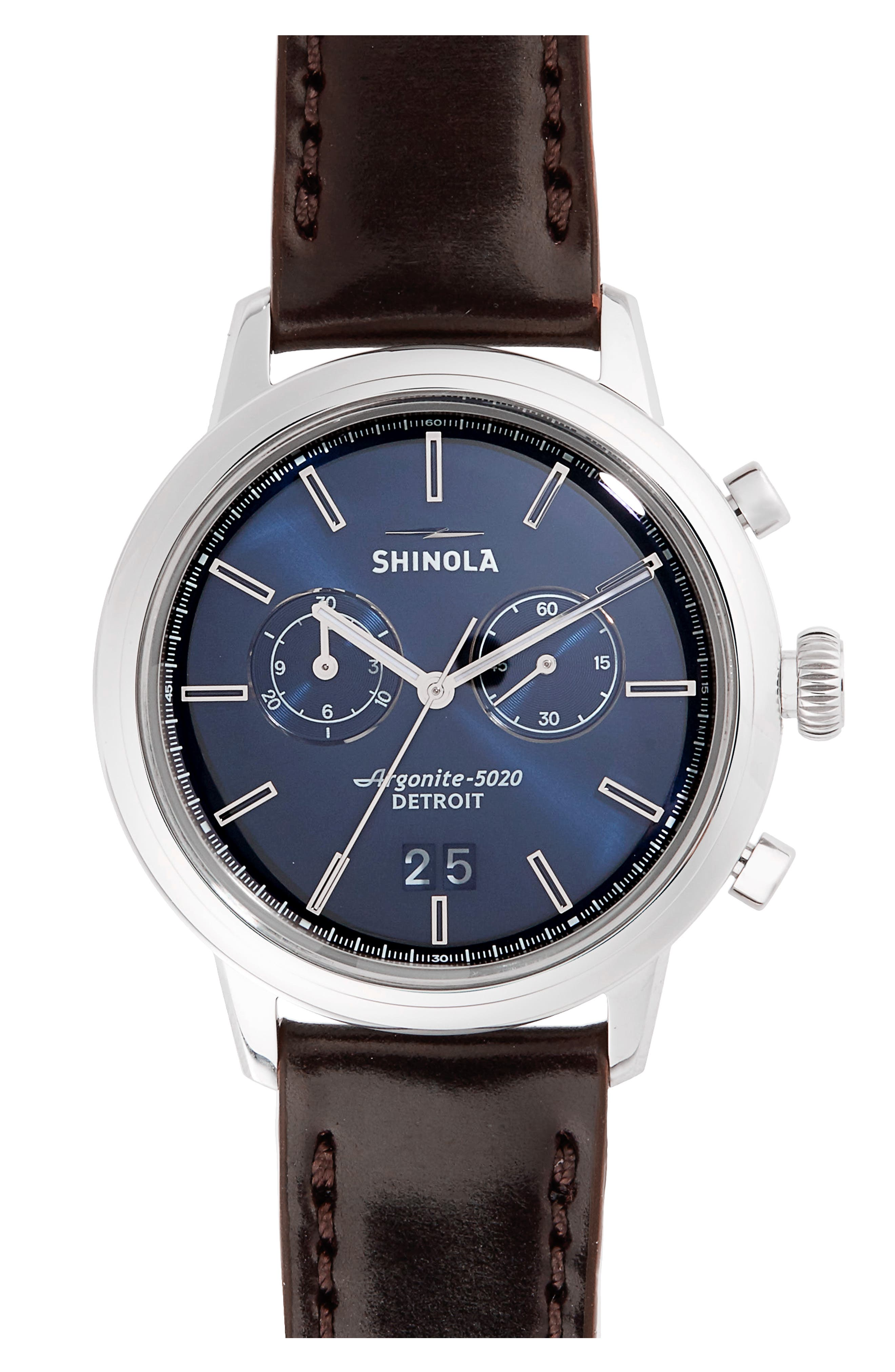 The Bedrock Chronograph Leather Strap Watch, 42mm,                         Main,                         color, Brown/ Midnight Blue/ Silver