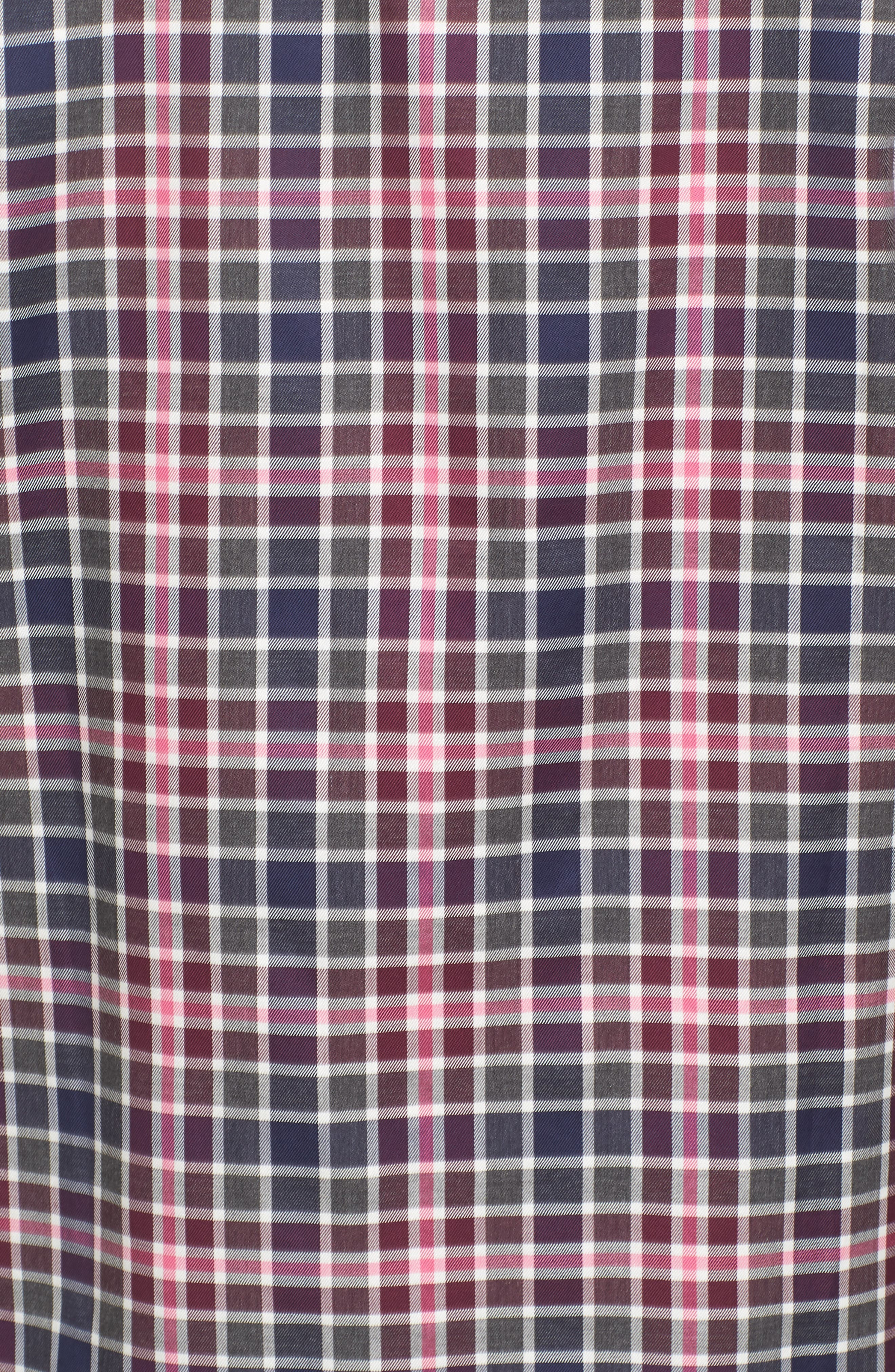 Shaped Fit Plaid Sport Shirt,                             Alternate thumbnail 5, color,                             Wine