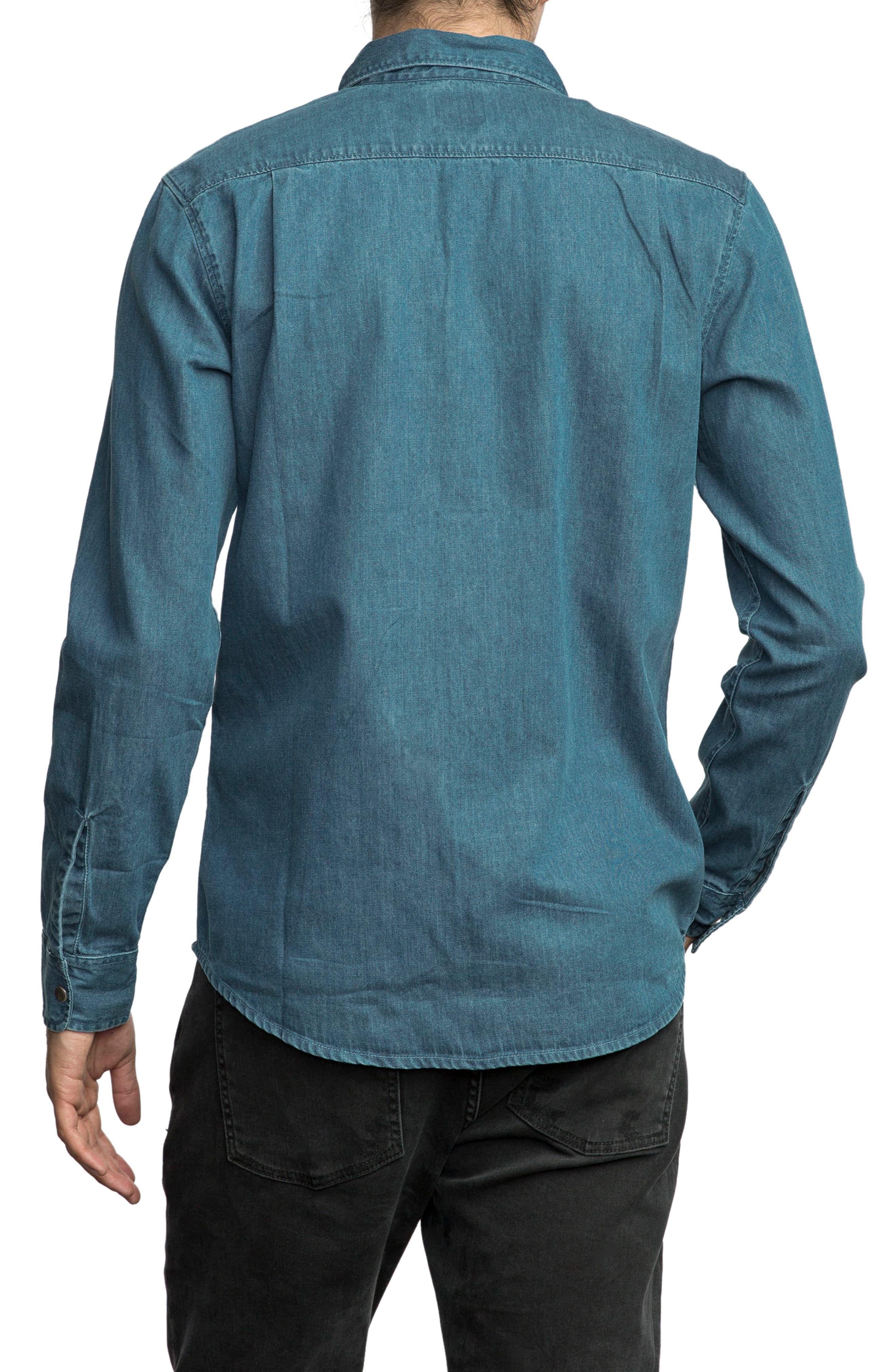 Alternate Image 2  - RVCA Mason Snap Front Chambray Shirt