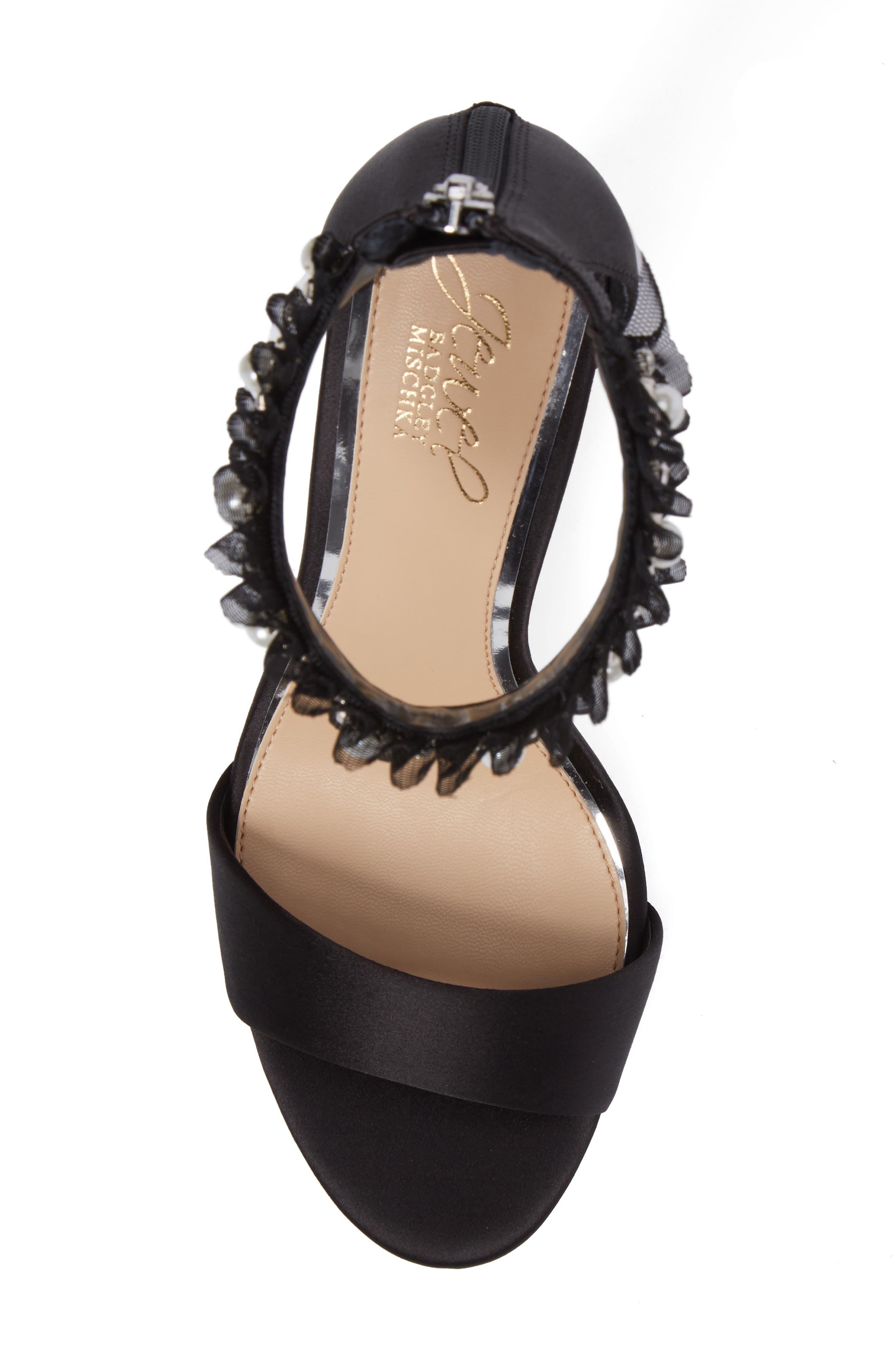 Abagail Embellished Ankle Strap Sandal,                             Alternate thumbnail 5, color,                             Black Satin