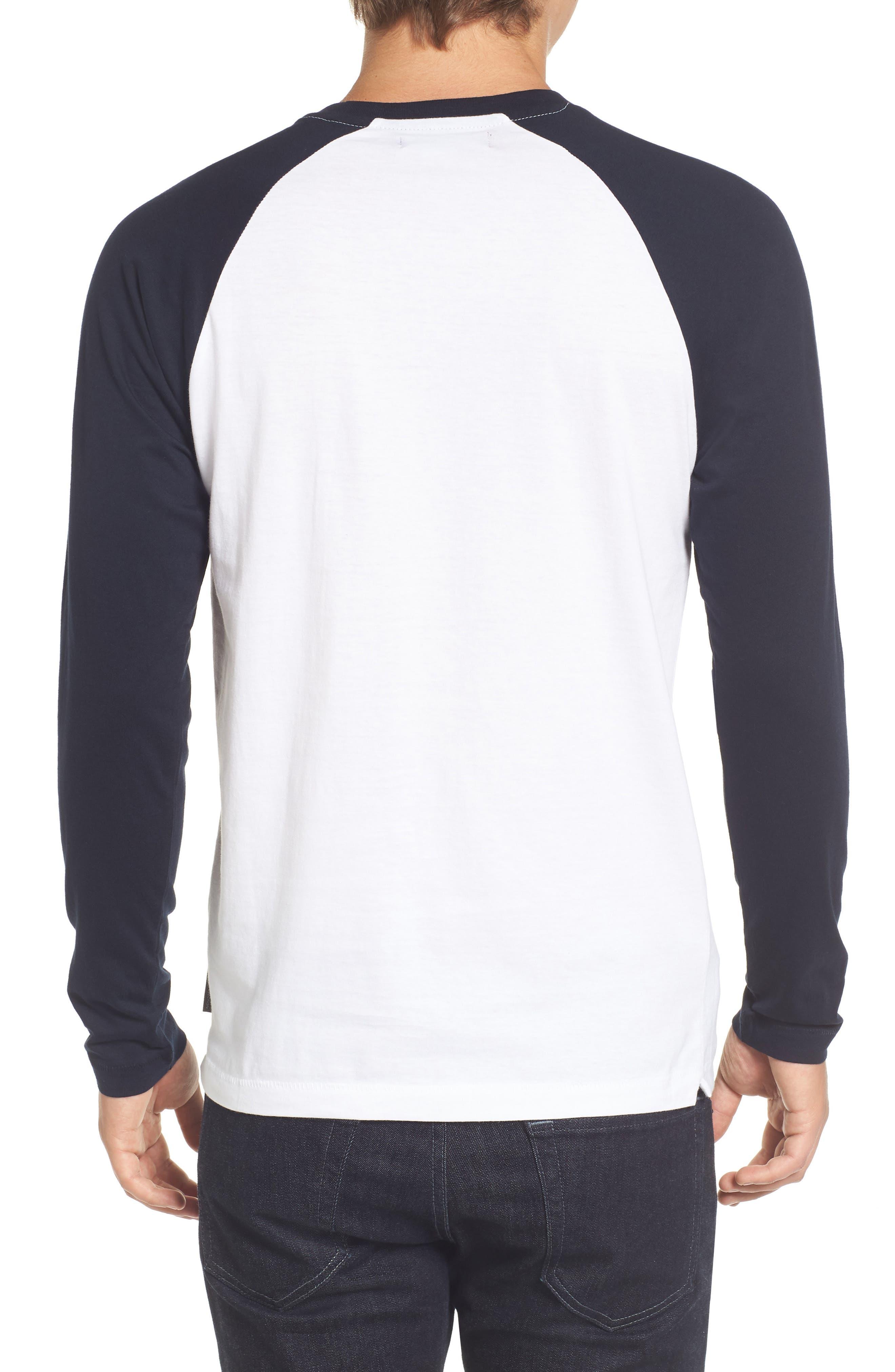 Slim Fit Long Sleeve Raglan T-Shirt,                             Alternate thumbnail 2, color,                             White/ Marine