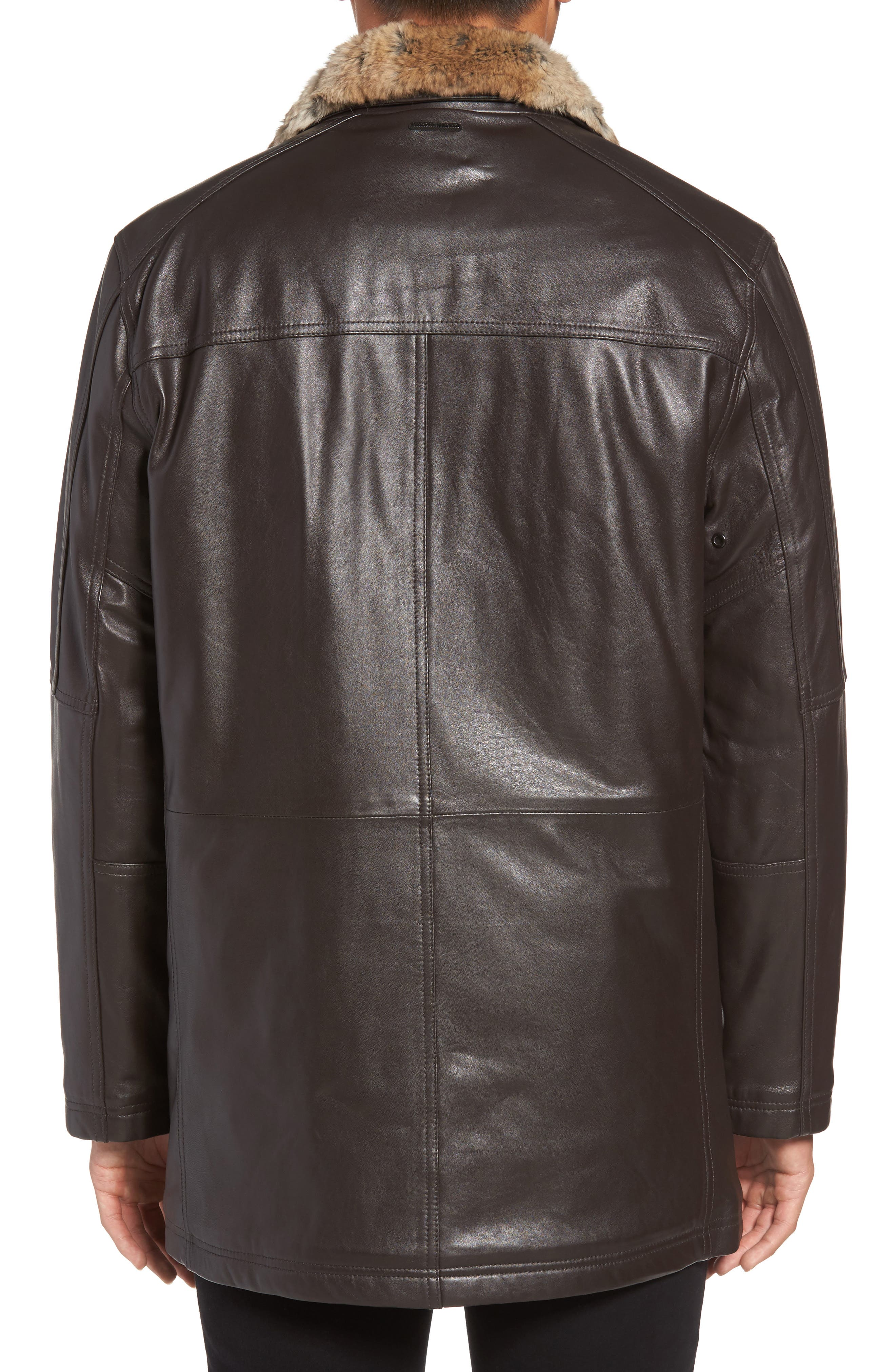 Middlebury Leather Car Coat with Genuine Rabbit Fur Trim,                             Alternate thumbnail 2, color,                             Espresso