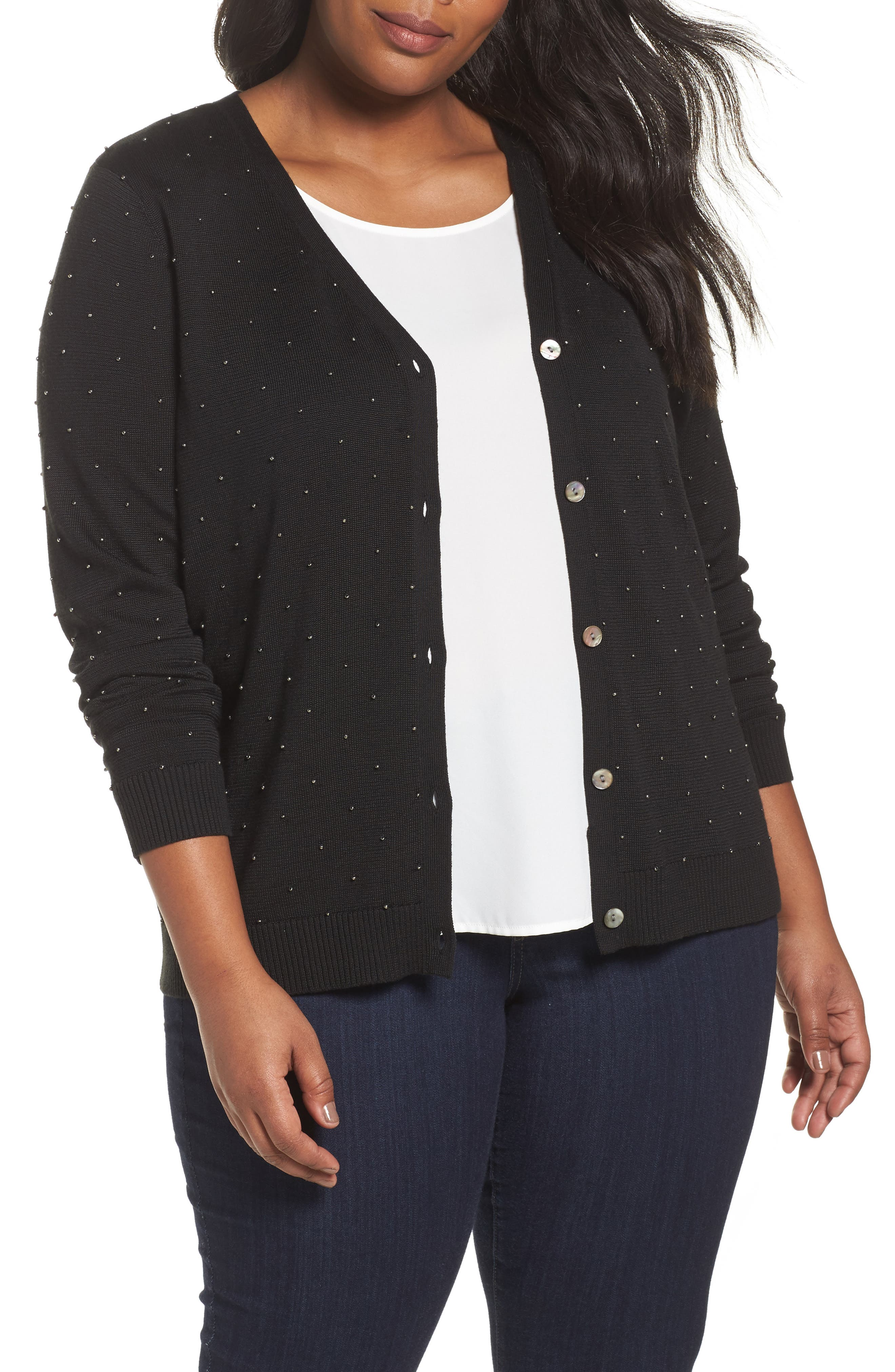 Alternate Image 1 Selected - Foxcroft Ryleigh Beaded Cardigan (Plus Size)