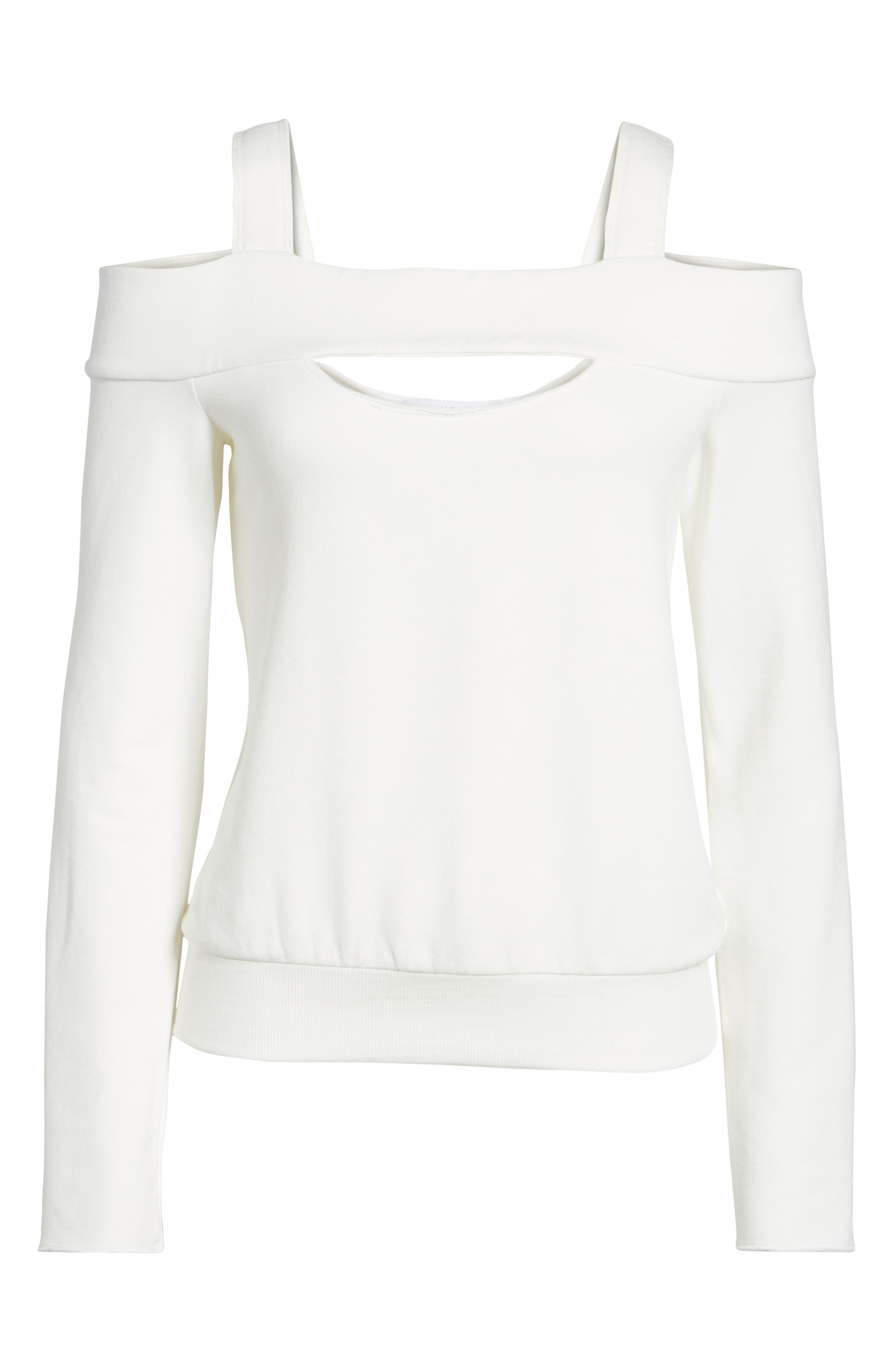 Ground Swell Cold Shoulder Sweatshirt,                             Main thumbnail 1, color,                             Cream