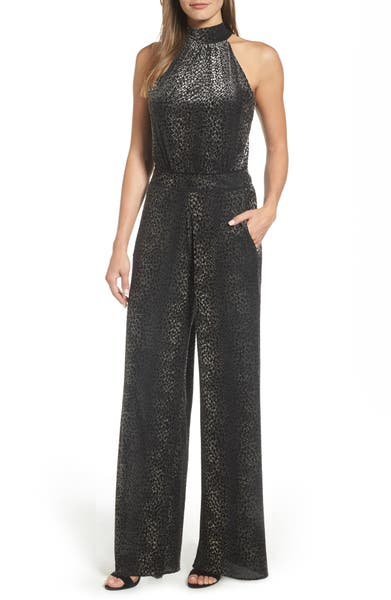 Catherine Catherine Malandrino Campbell Snake Print Halter Jumpsuit - Available at Nordstrom