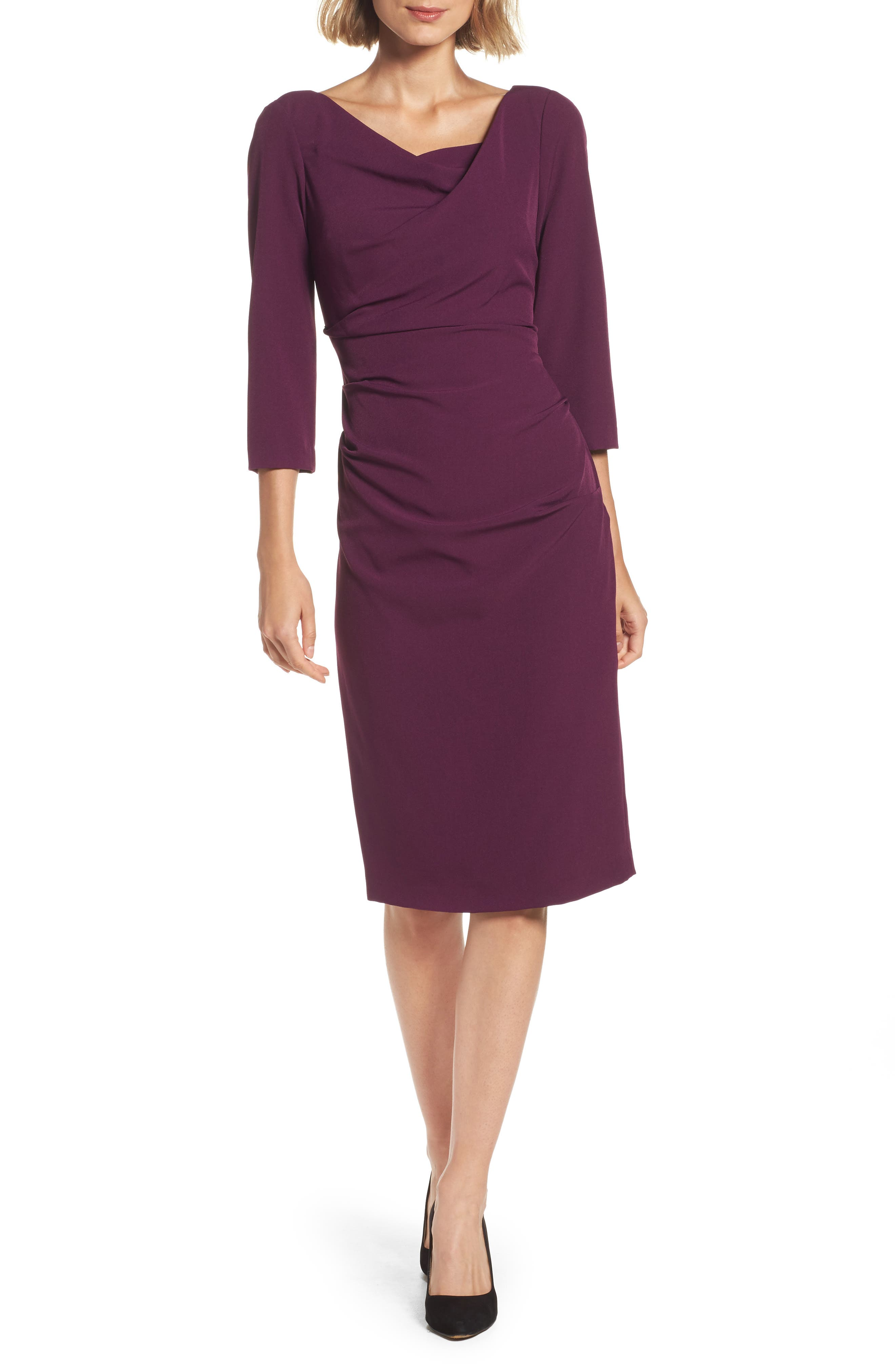Adrianna Papell Drape Neck Midi Dress